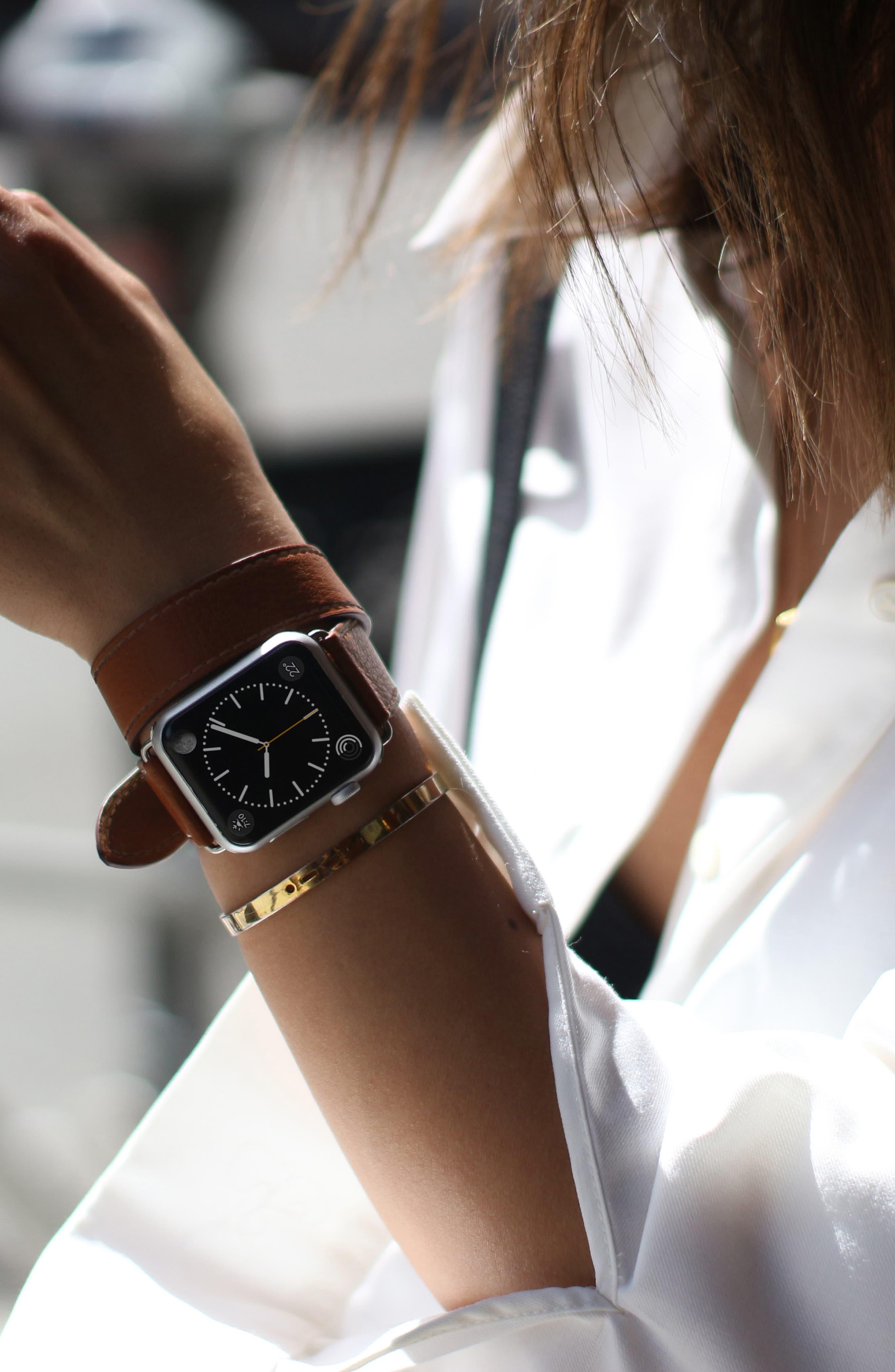 Double Tour Leather Apple Watch Strap,                             Alternate thumbnail 4, color,                             BROWN