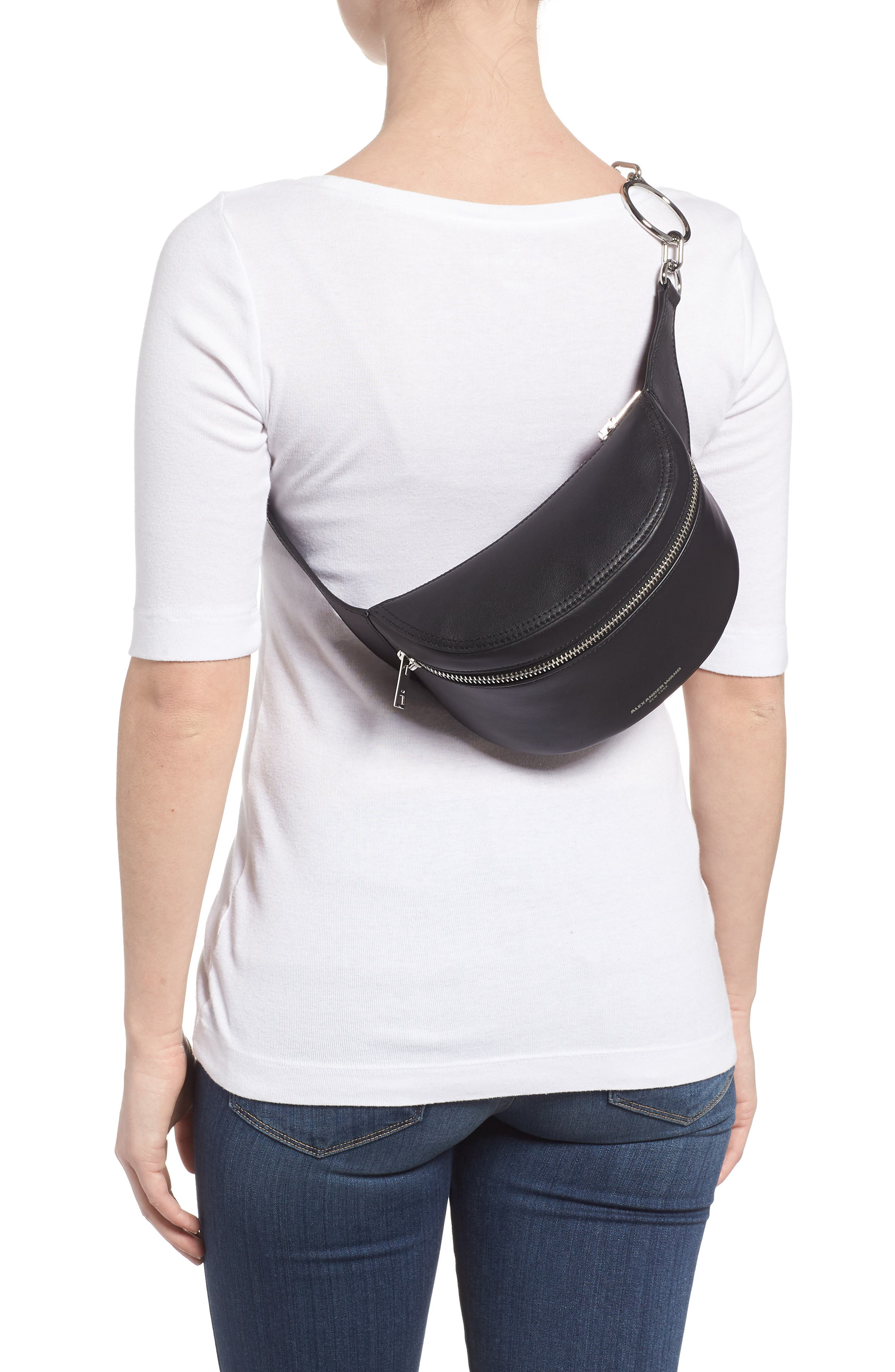 Leather Fanny Pack,                             Alternate thumbnail 3, color,                             001