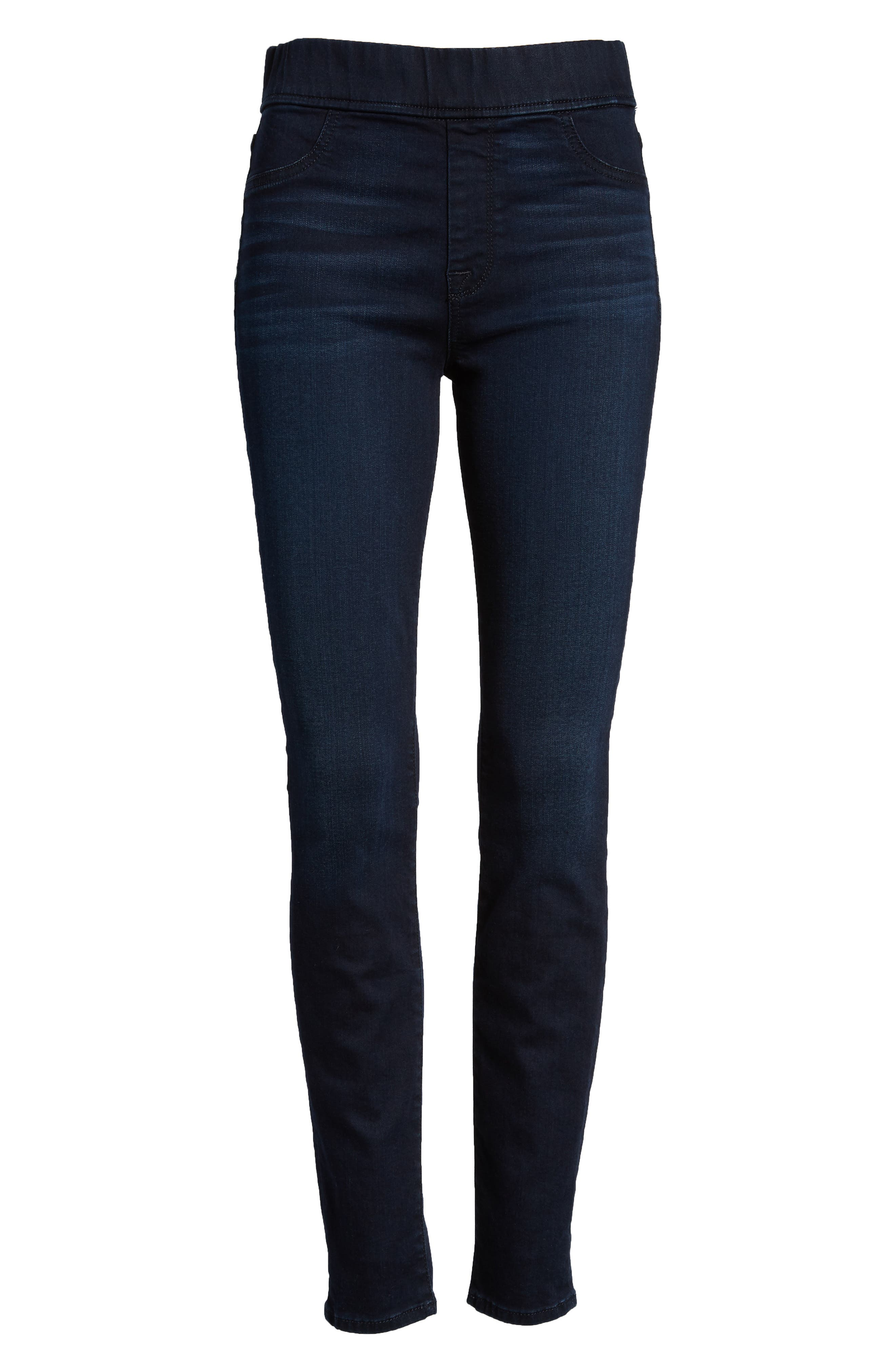 Comfort Skinny Denim Leggings,                             Alternate thumbnail 7, color,                             RICHE TOUCH BLUE/BLACK
