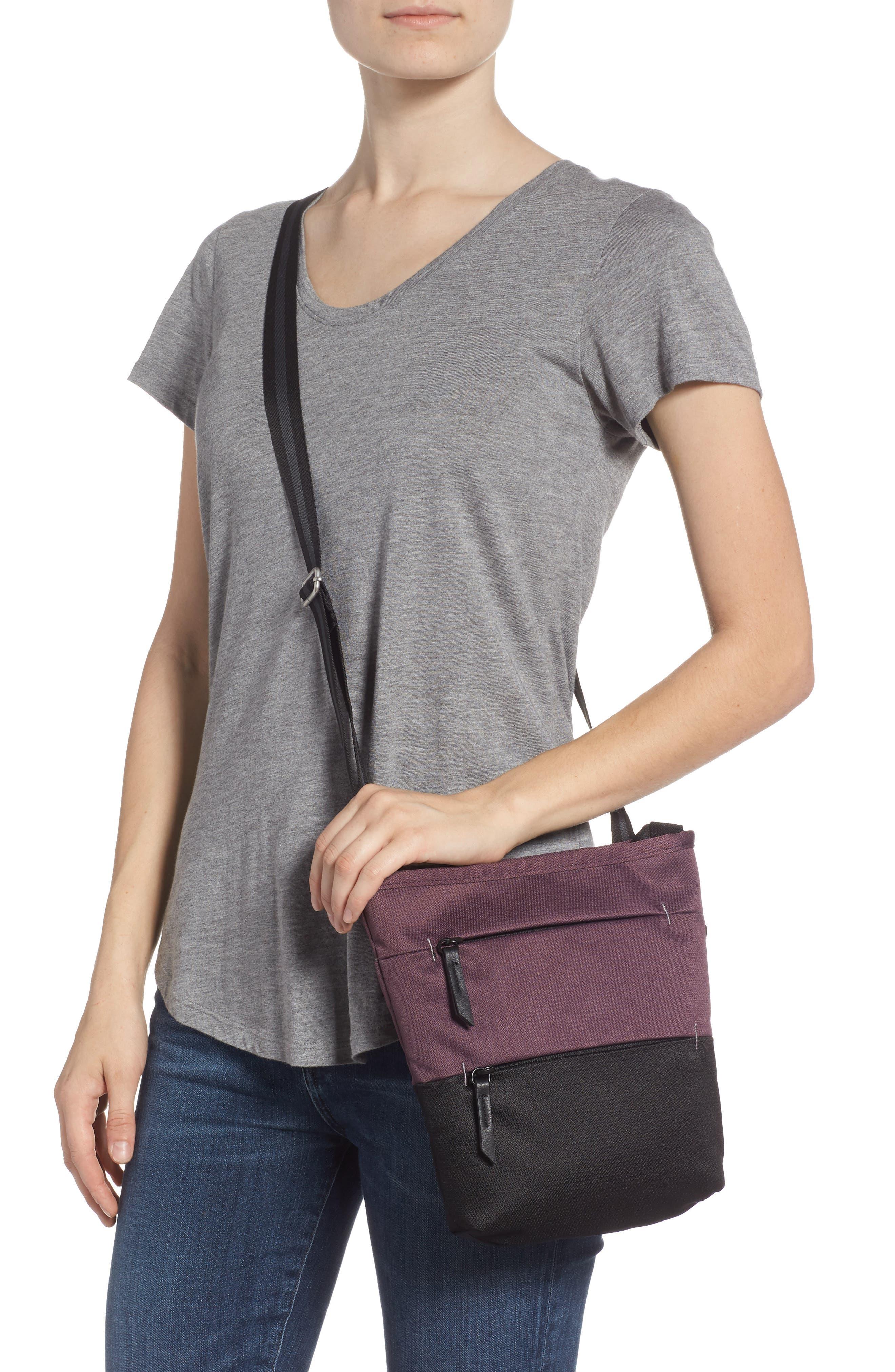 Sadie Medium RFID Crossbody Bag,                             Alternate thumbnail 2, color,                             PURPLE DAHLIA/ BLACK