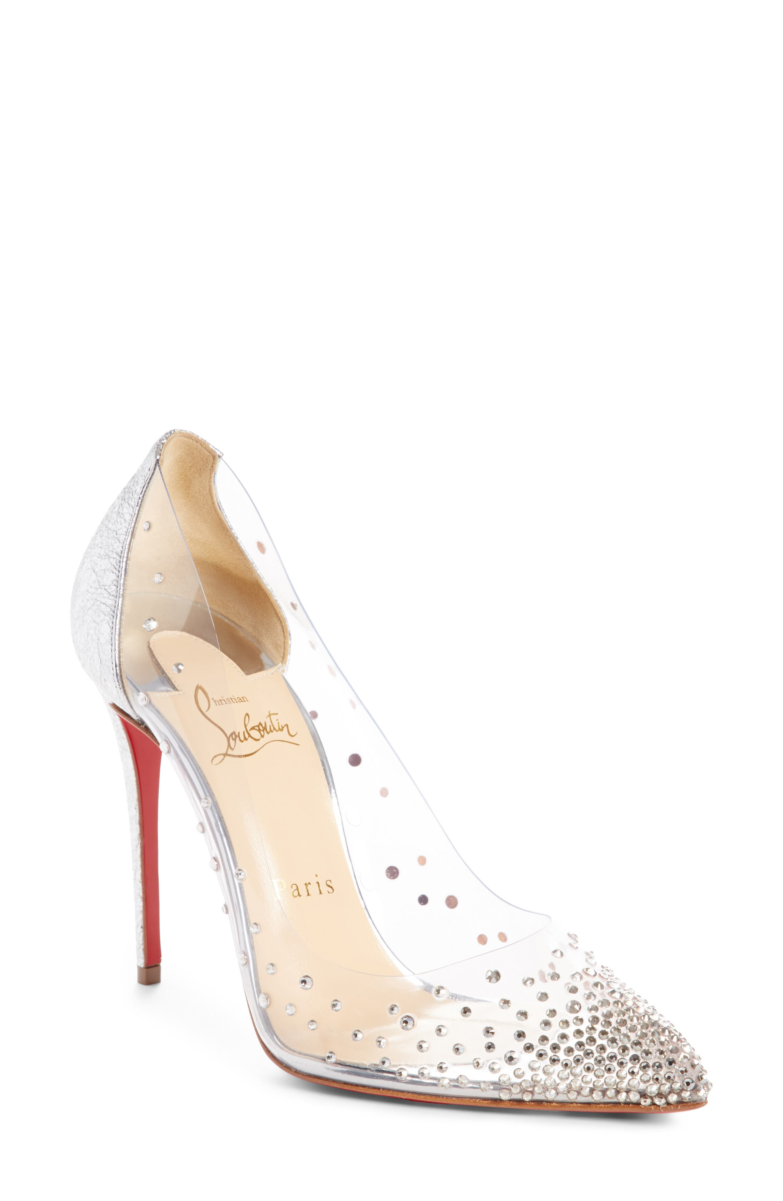 CHRISTIAN LOUBOUTIN,                             Degrastrass Clear Embellished Pump,                             Main thumbnail 1, color,                             042