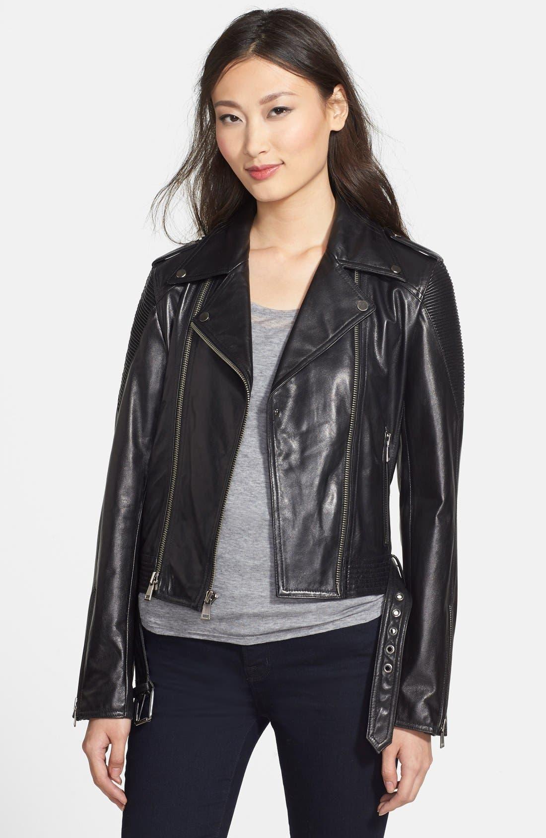 NICOLE MILLER Trapunto Stitch Lambskin Leather Moto Jacket, Main, color, 001