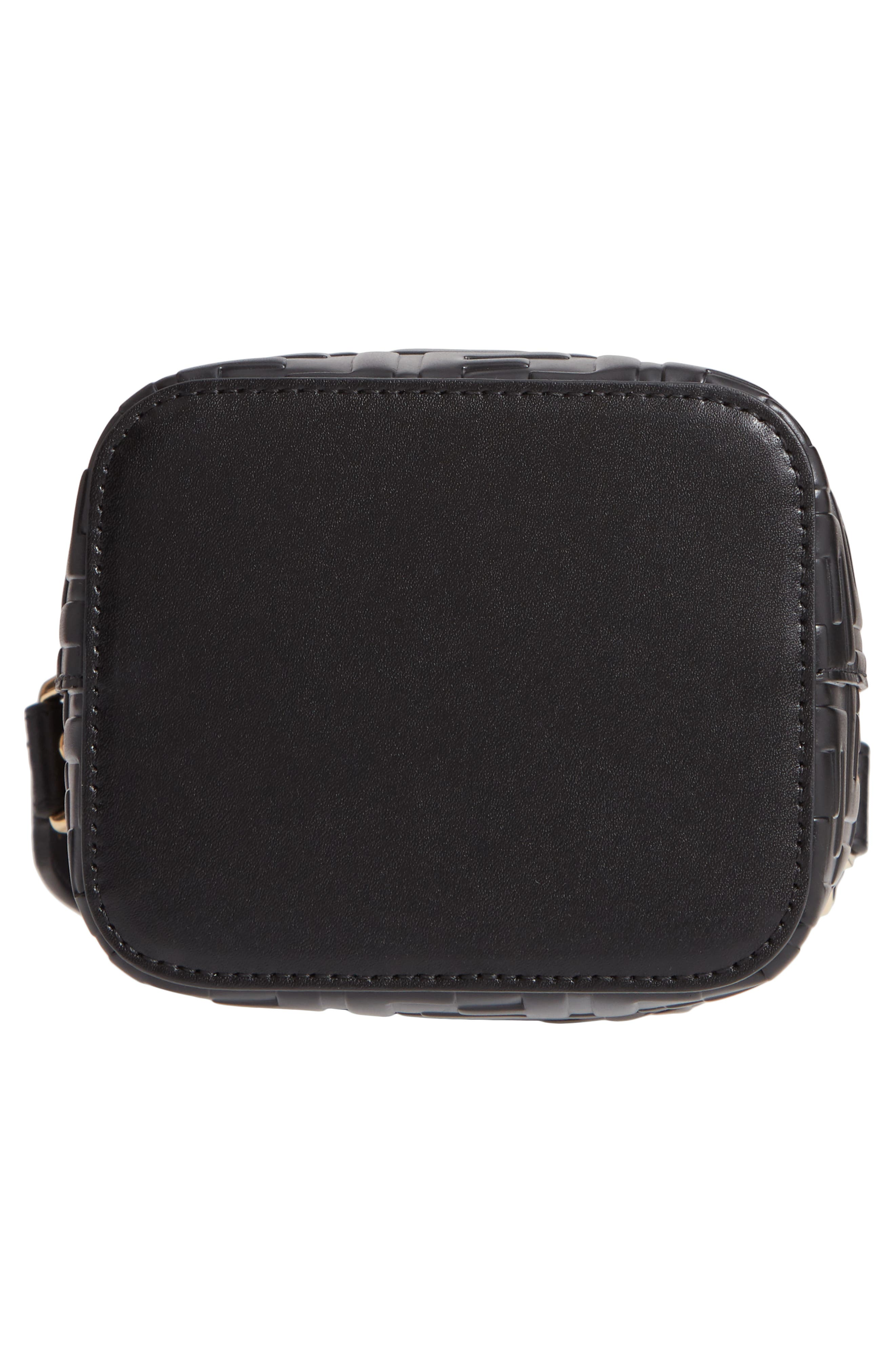 Mini Mon Tresor Logo Leather Bucket Bag,                             Alternate thumbnail 7, color,                             NERO/ ORO SOFT