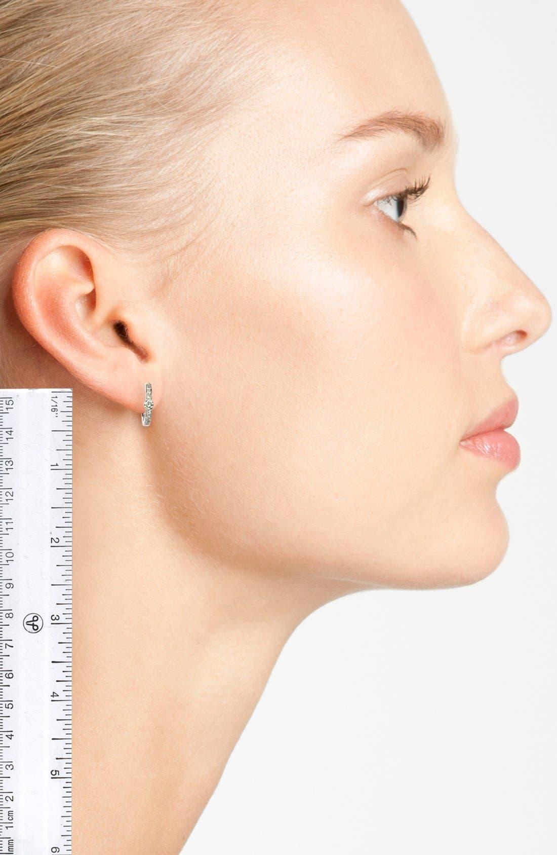 Linea Diamond Huggie Earrings,                             Alternate thumbnail 2, color,                             WHITE GOLD