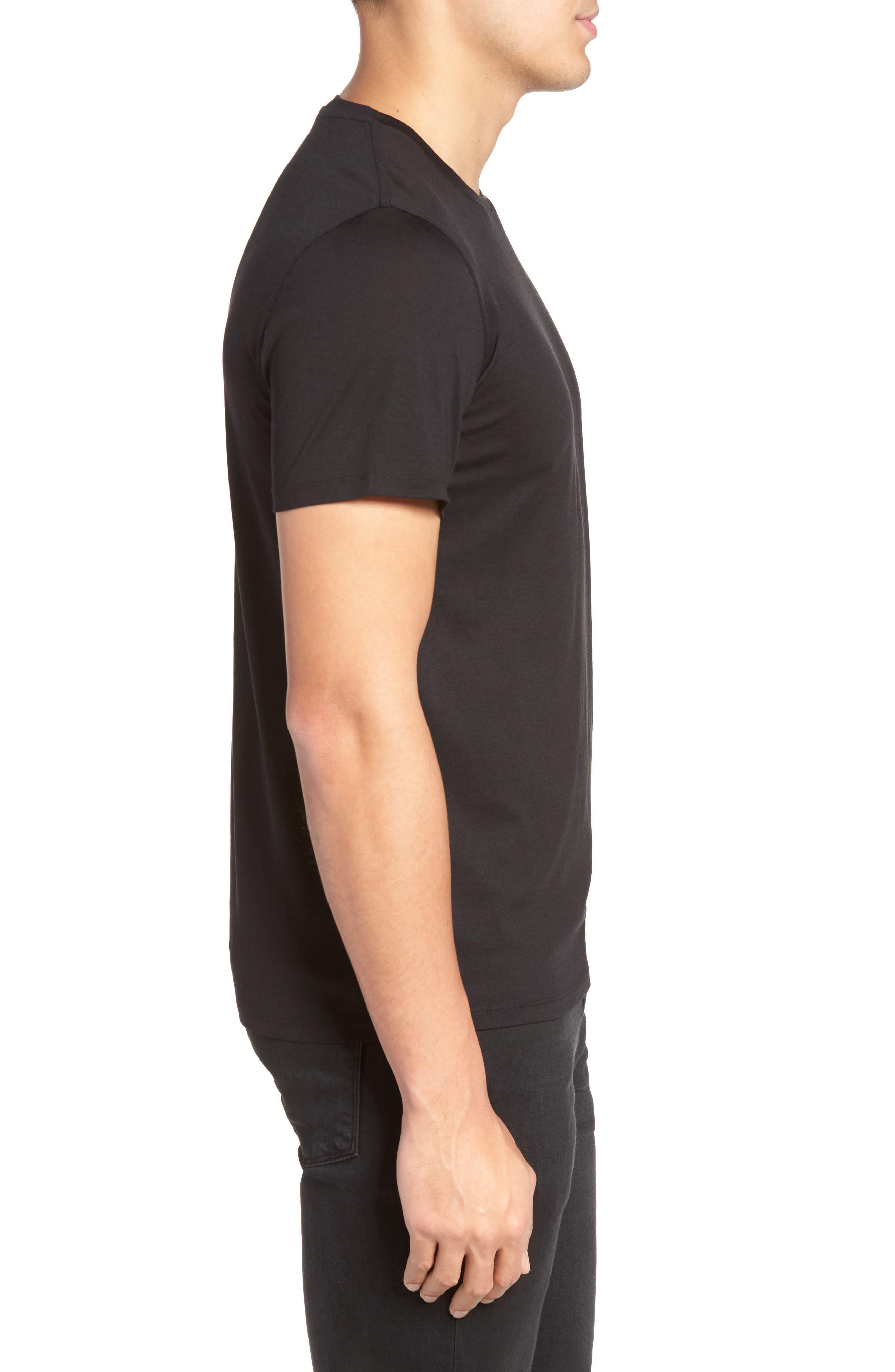 Silk & Cotton Crewneck T-Shirt,                             Alternate thumbnail 3, color,                             001