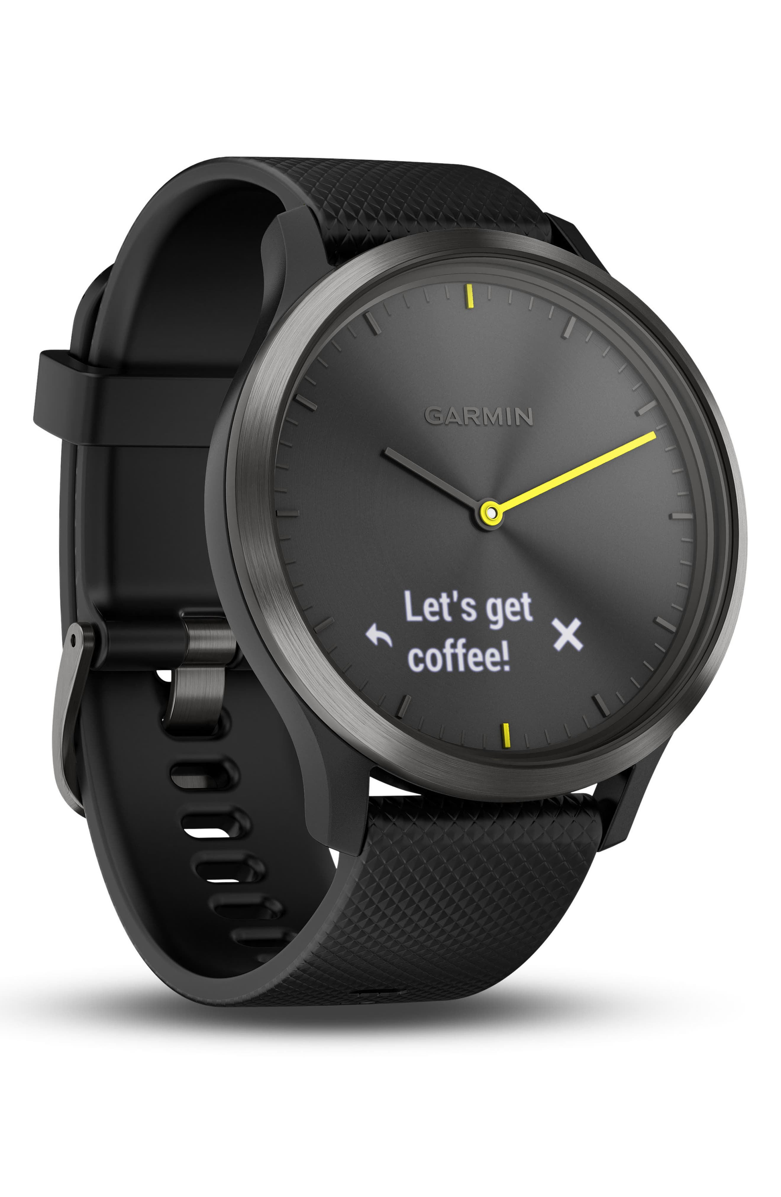 Vivomove HR Large Sport Hybrid Smart Watch,                             Alternate thumbnail 8, color,                             BLACK/ BLACK/ BLACK