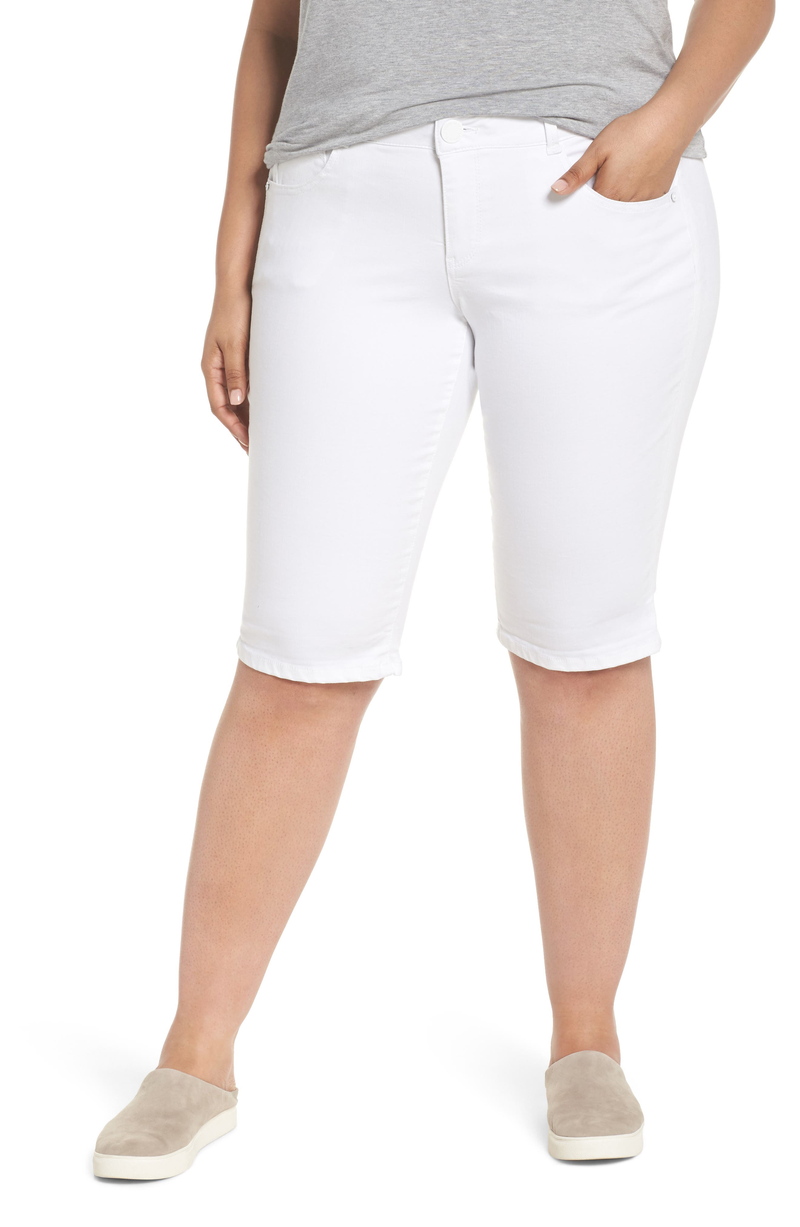 WIT & WISDOM,                             Ab-solution Bermuda Shorts,                             Main thumbnail 1, color,                             OPTIC WHITE