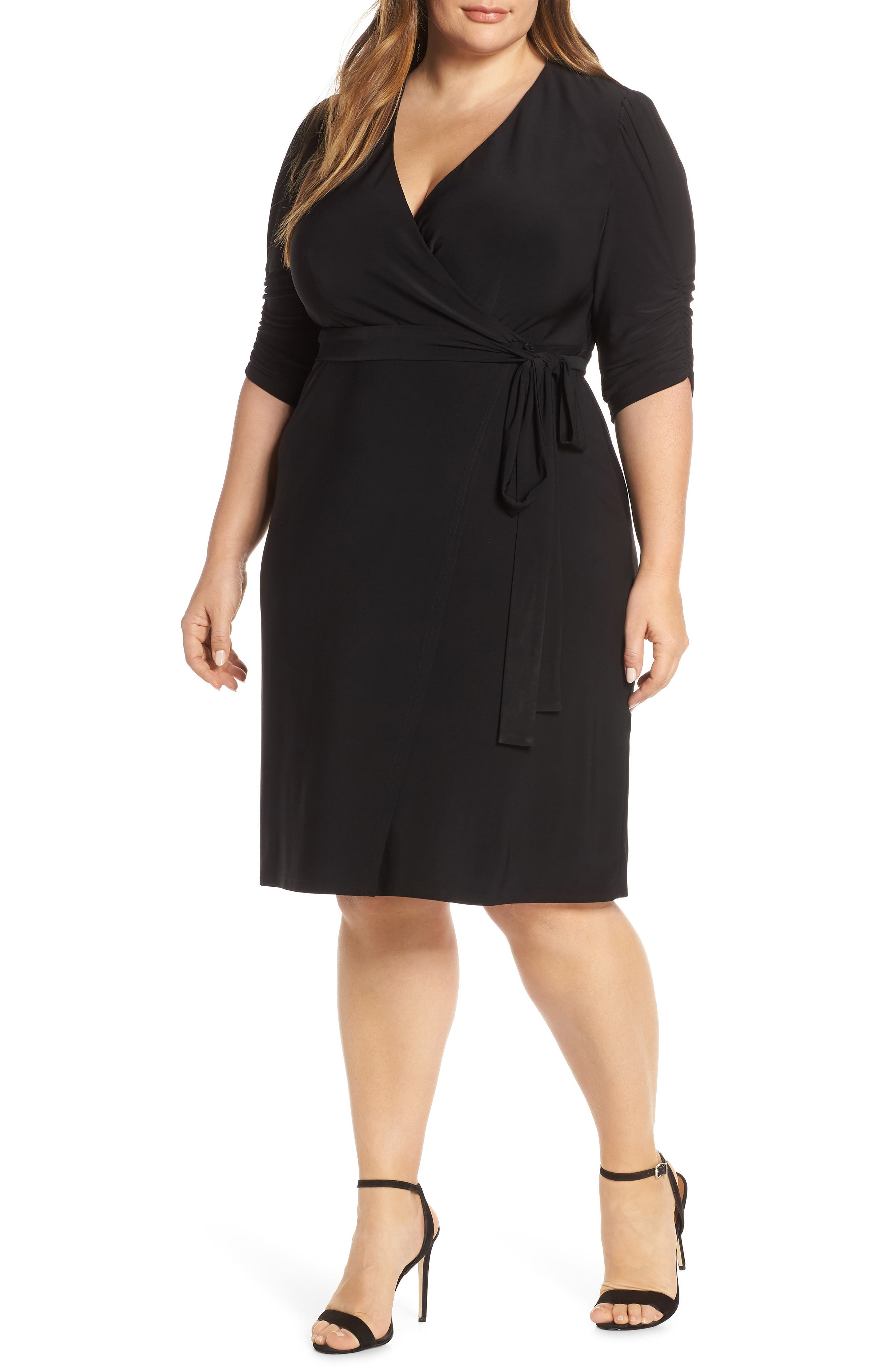 Plus Size Eliza J Ruched Sleeve Faux Wrap Dress, Black