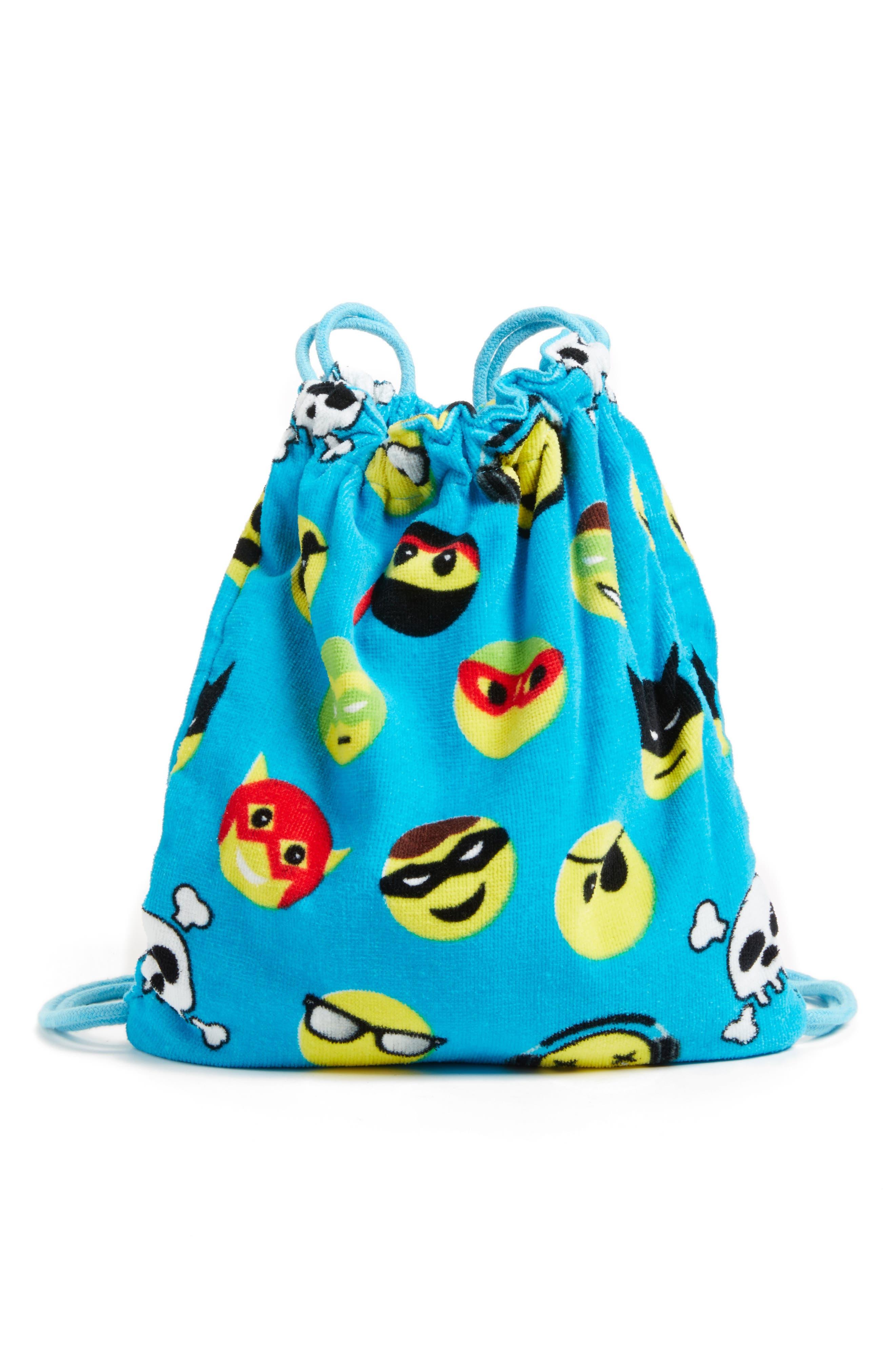 Emoji Towel Drawstring Bag,                             Main thumbnail 1, color,                             401