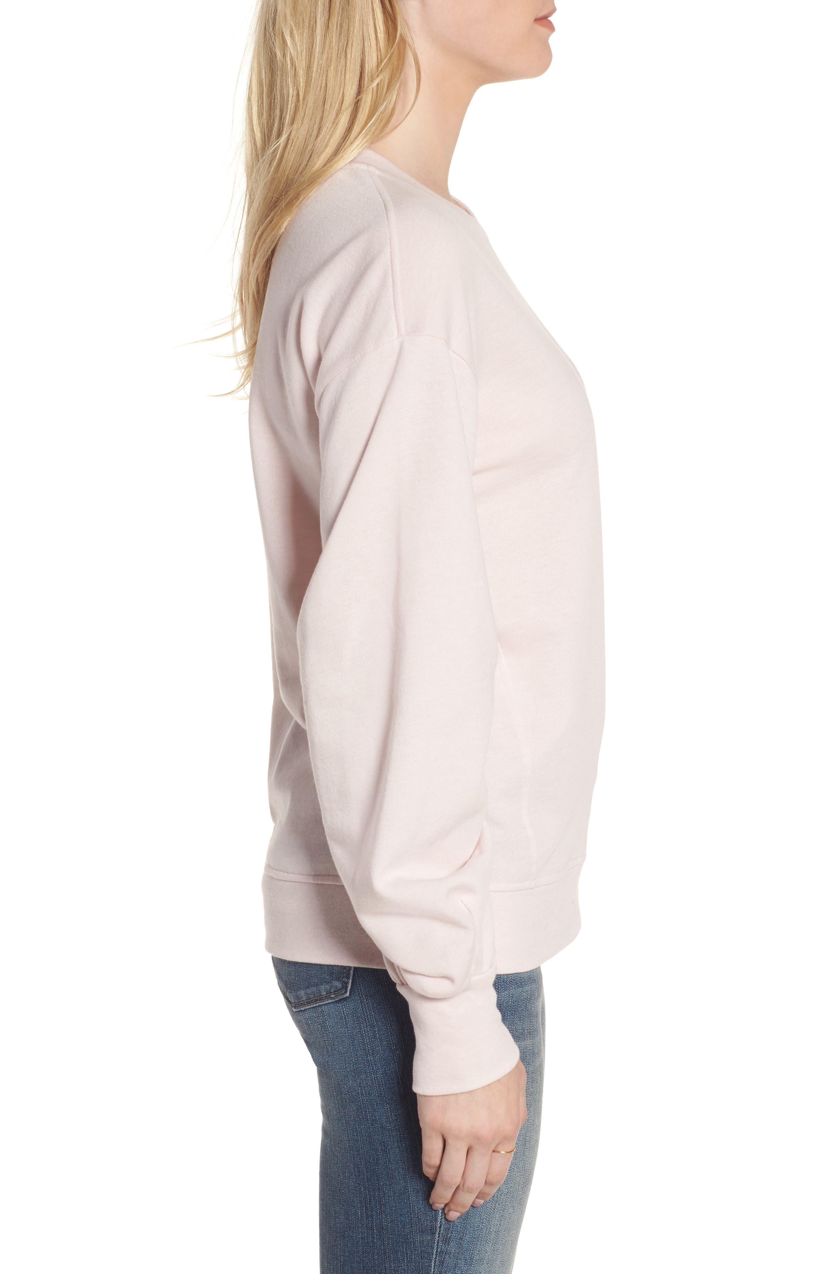 Pleated Sleeve Sweatshirt,                             Alternate thumbnail 6, color,