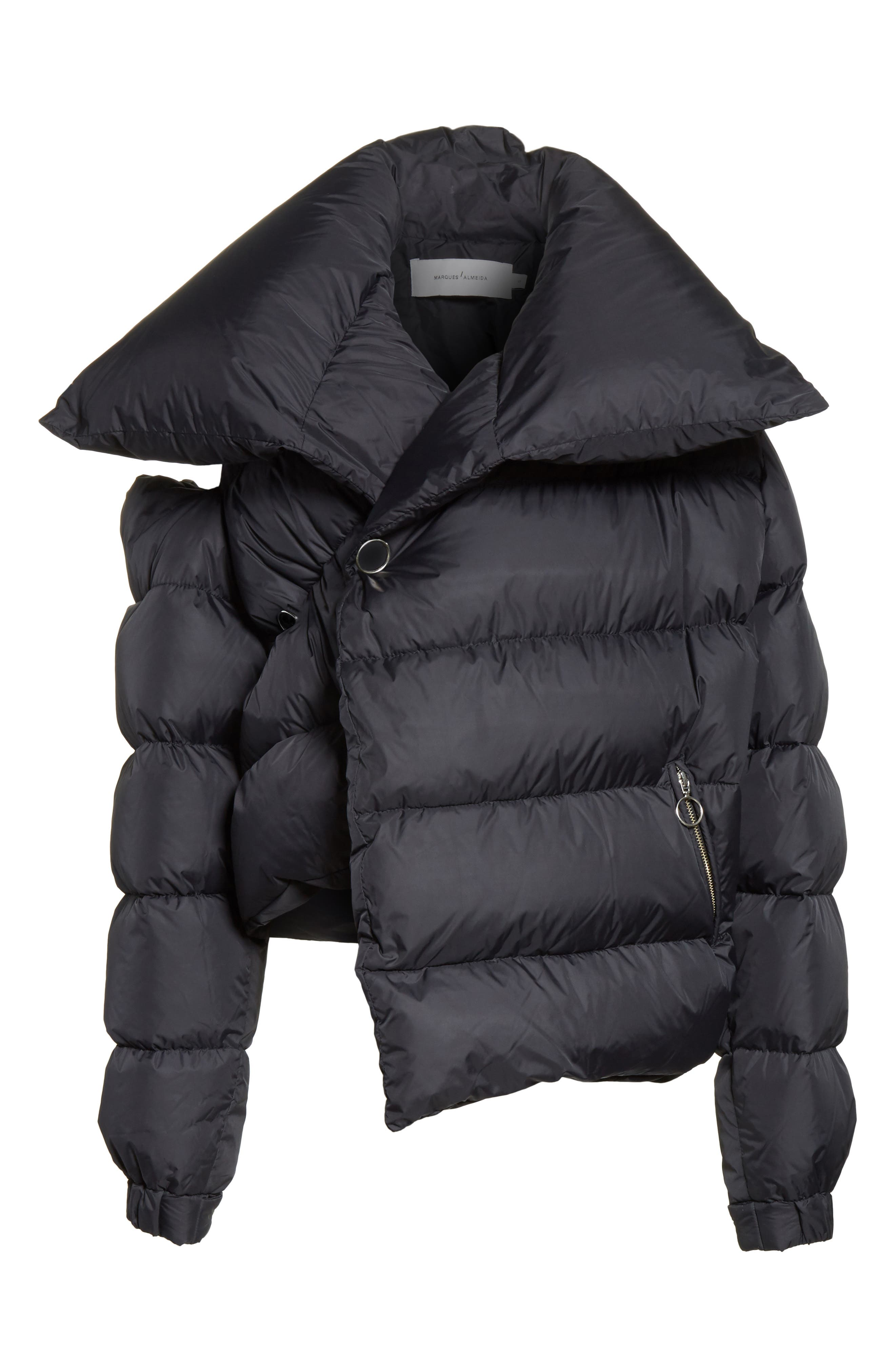 Marques'Almeida Asymmetrical Down Puffer Coat with Safety Pin Closure,                             Alternate thumbnail 5, color,                             001