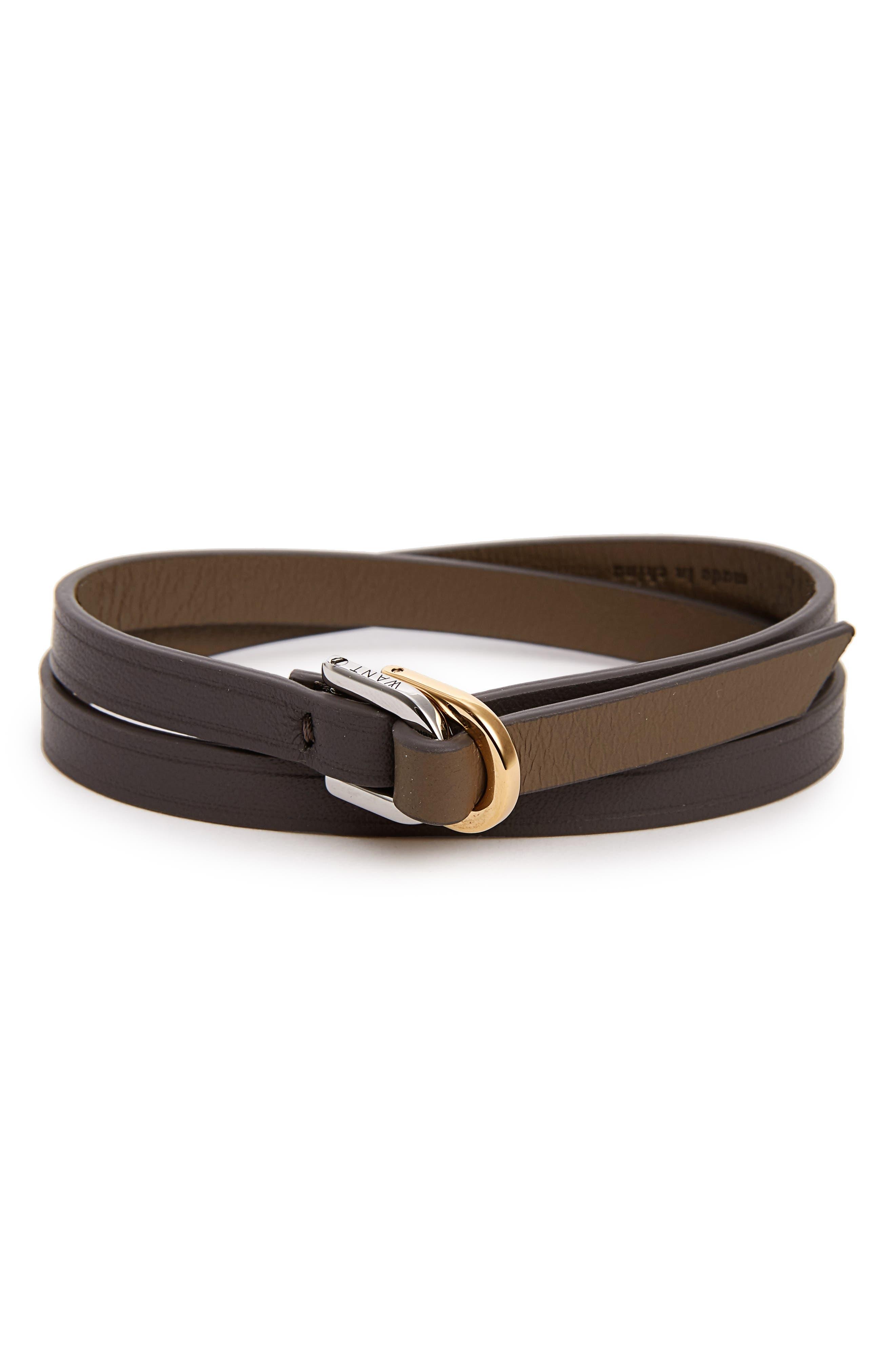 de la Vie 'Arlanda' Two-Tone Leather Wrap Bracelet,                             Main thumbnail 1, color,                             032