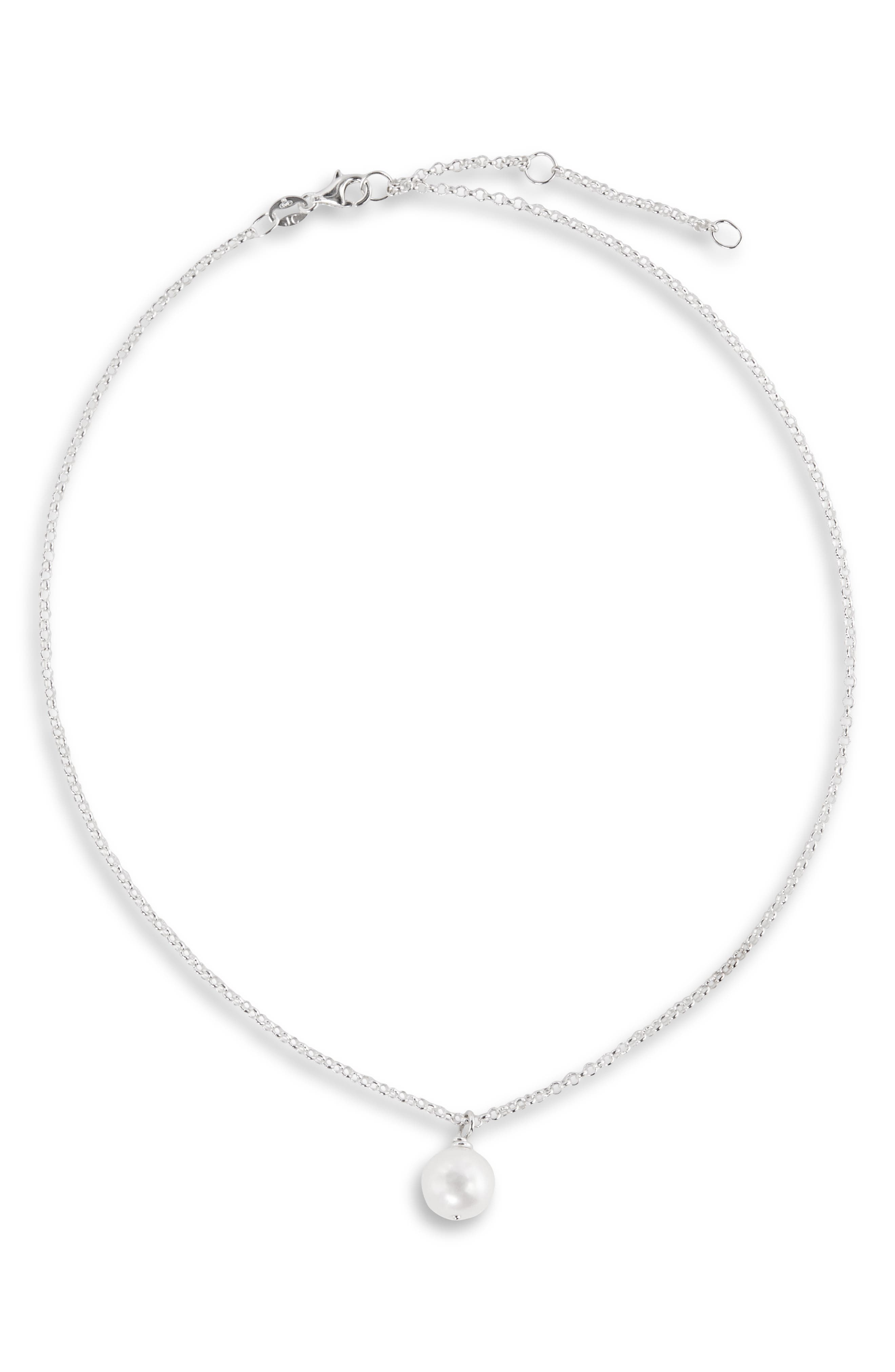 Freshwater Pearl Choker,                         Main,                         color, STERLING SILVER