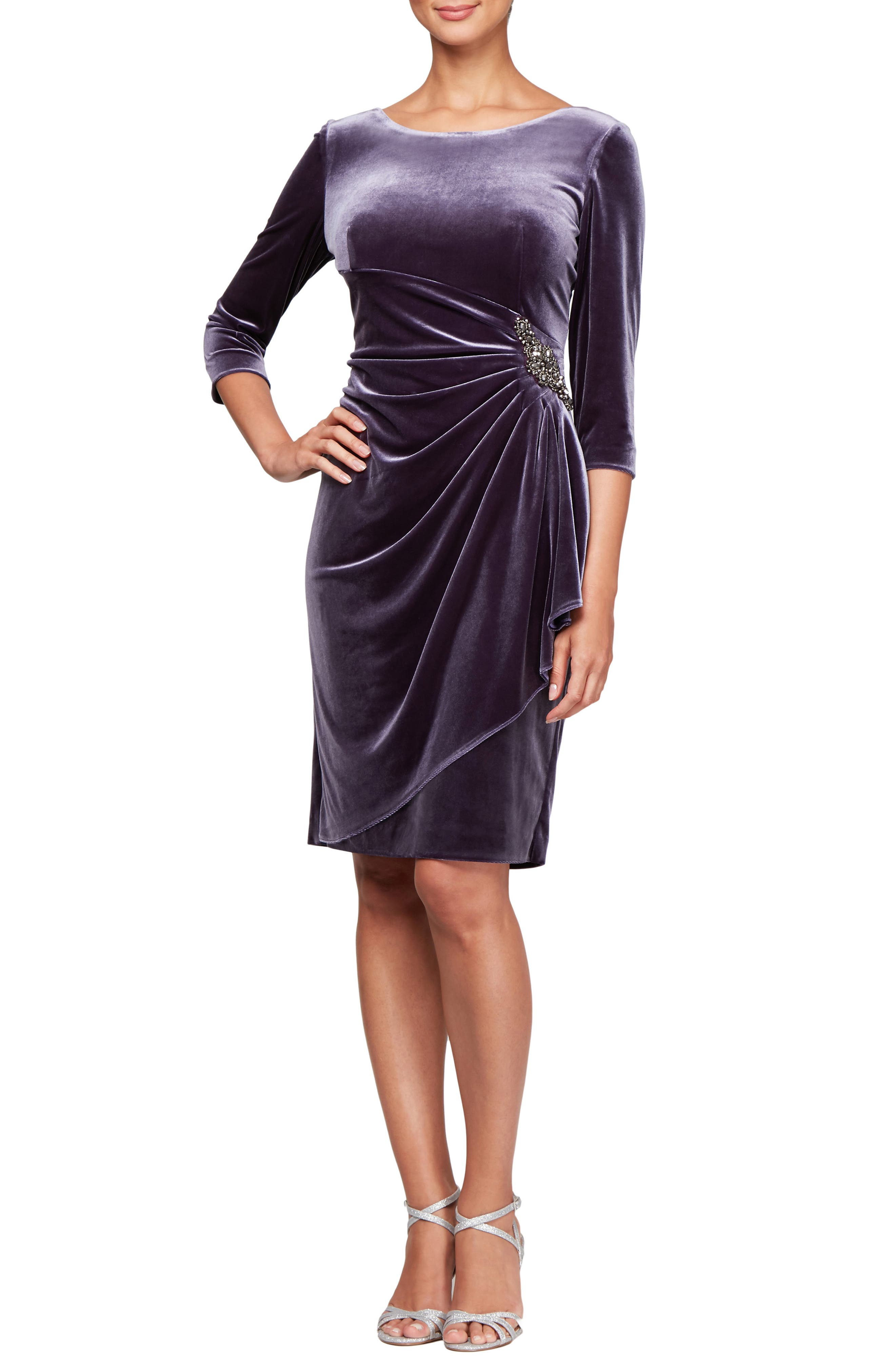 Alex Evenings Side Ruched Velvet Cocktail Dress, Grey