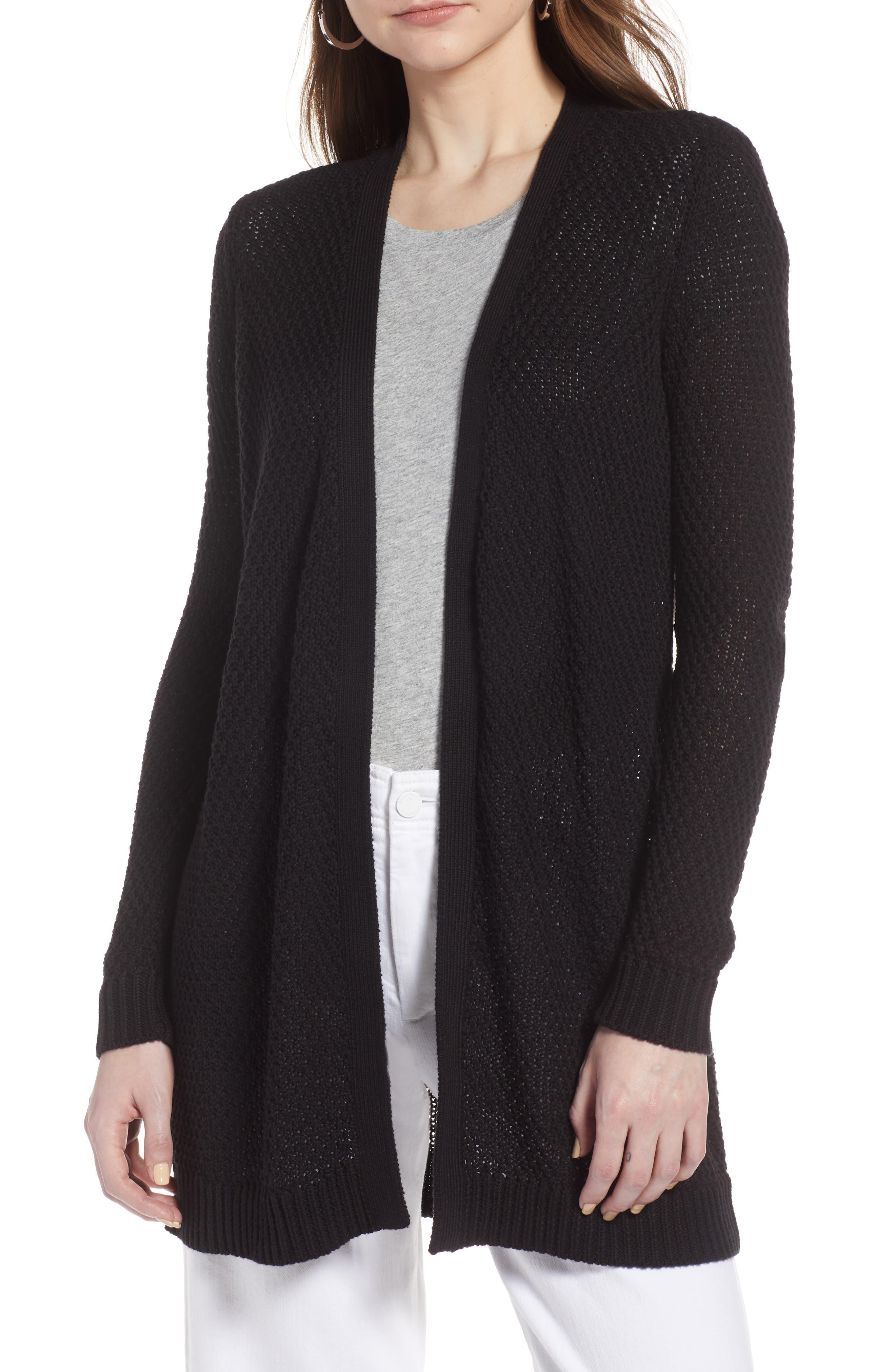 Textured Cotton Knit Cardigan,                         Main,                         color, BLACK
