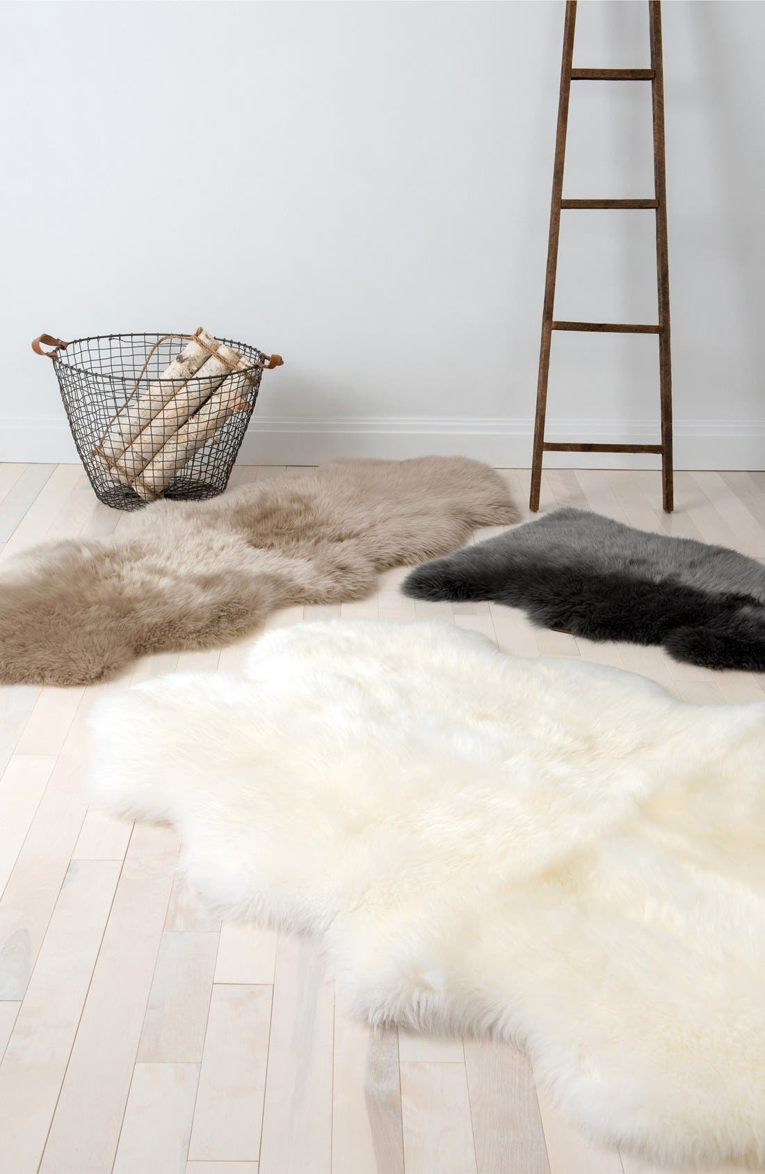 Genuine Sheepskin Rug,                             Alternate thumbnail 8, color,                             GREY