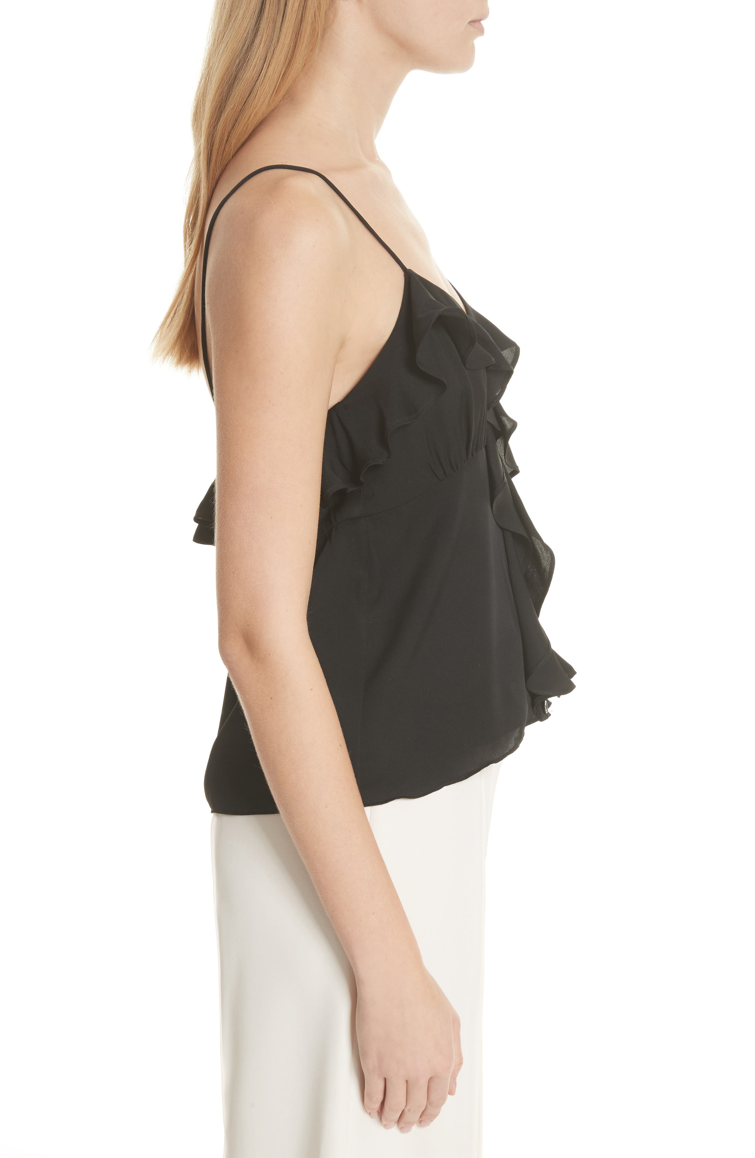 Emilia Ruffle Button Down Camisole,                             Alternate thumbnail 3, color,                             001