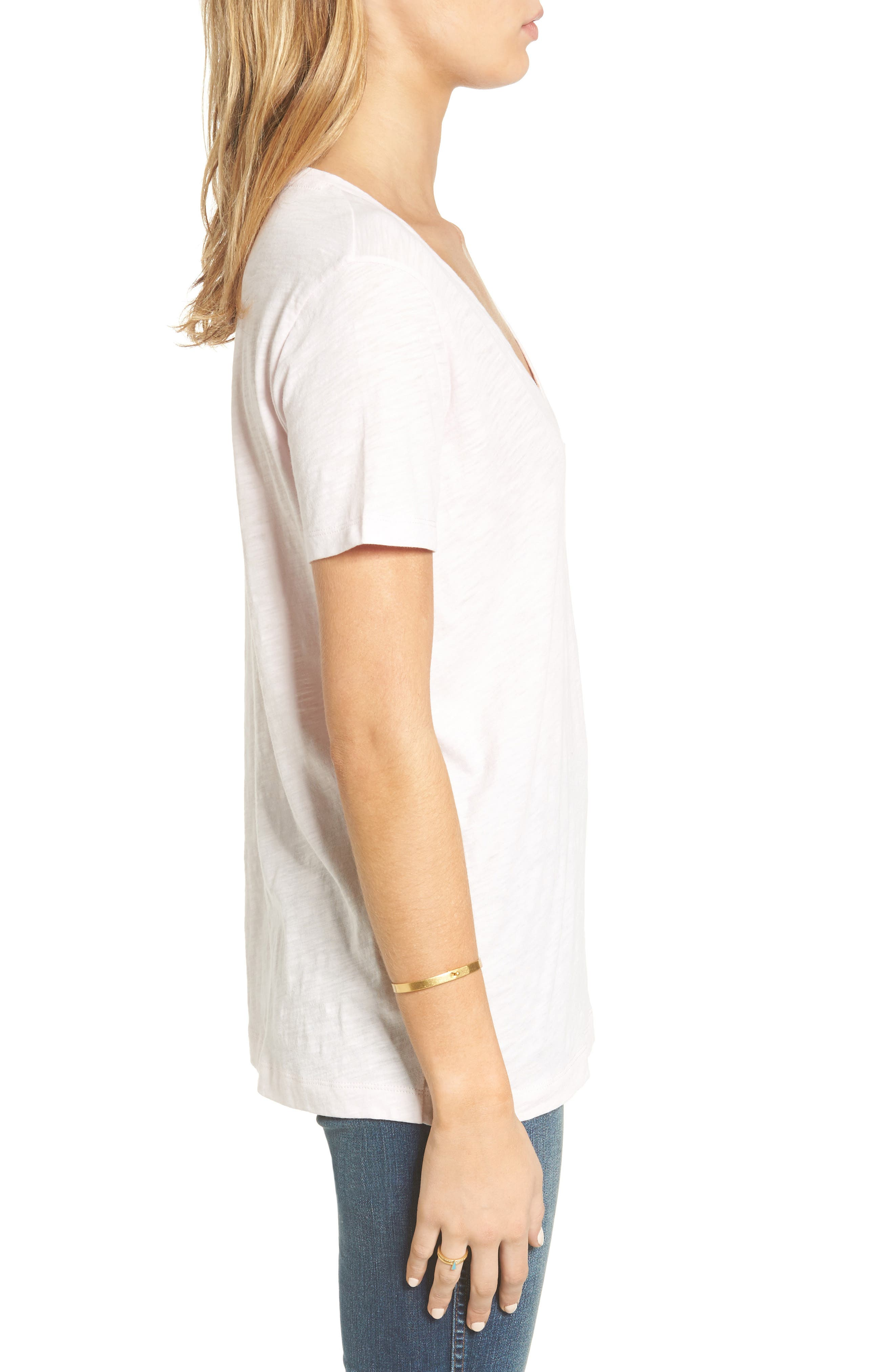 Whisper Cotton V-Neck Pocket Tee,                             Alternate thumbnail 122, color,
