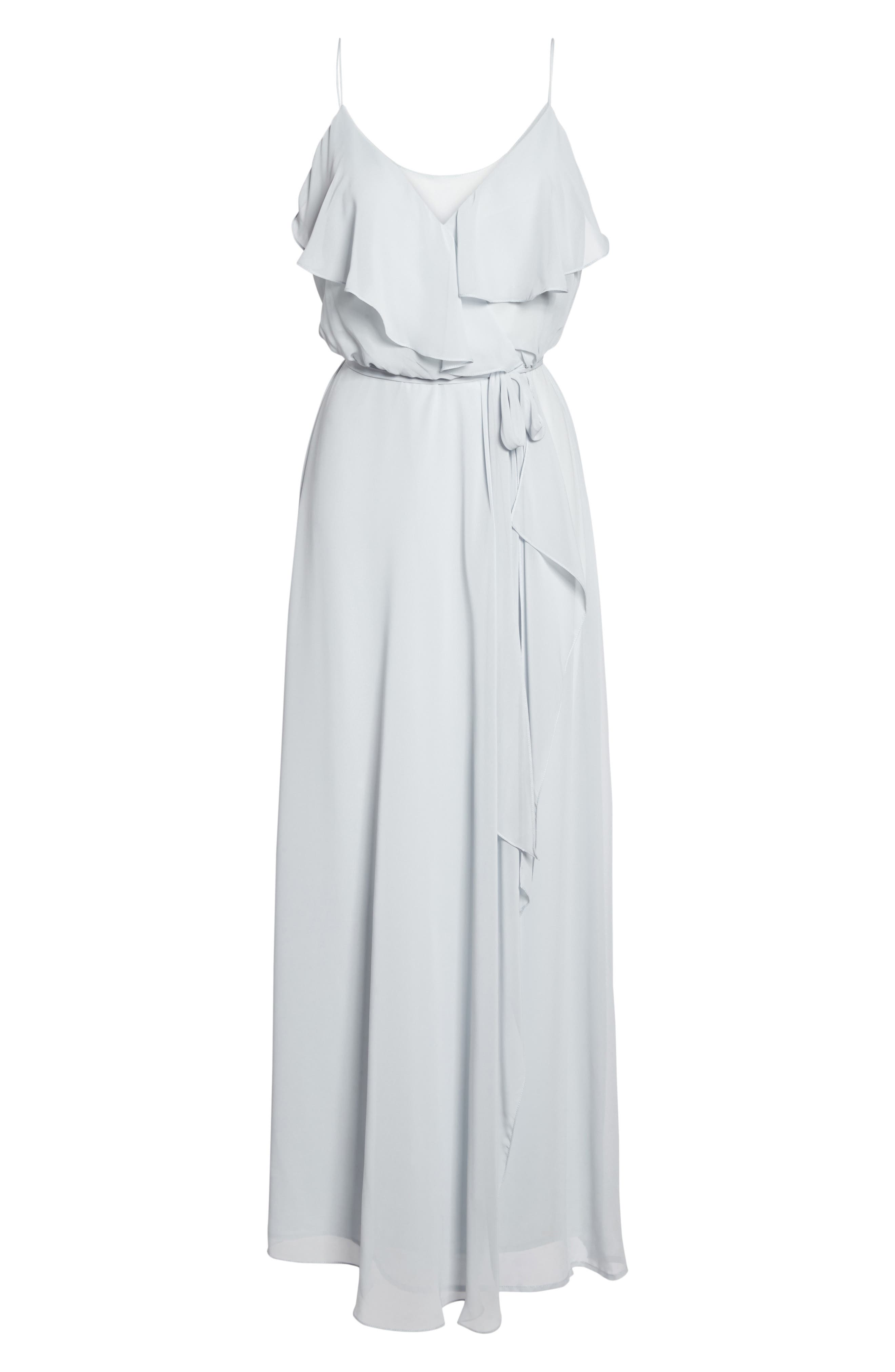 'Drew' Ruffle Front Chiffon Gown,                             Alternate thumbnail 6, color,                             052