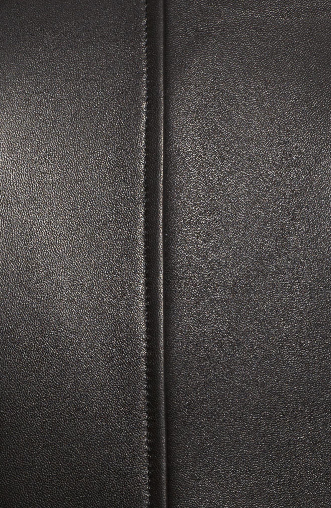 Chevron Seam Leather Jacket,                             Alternate thumbnail 6, color,                             001
