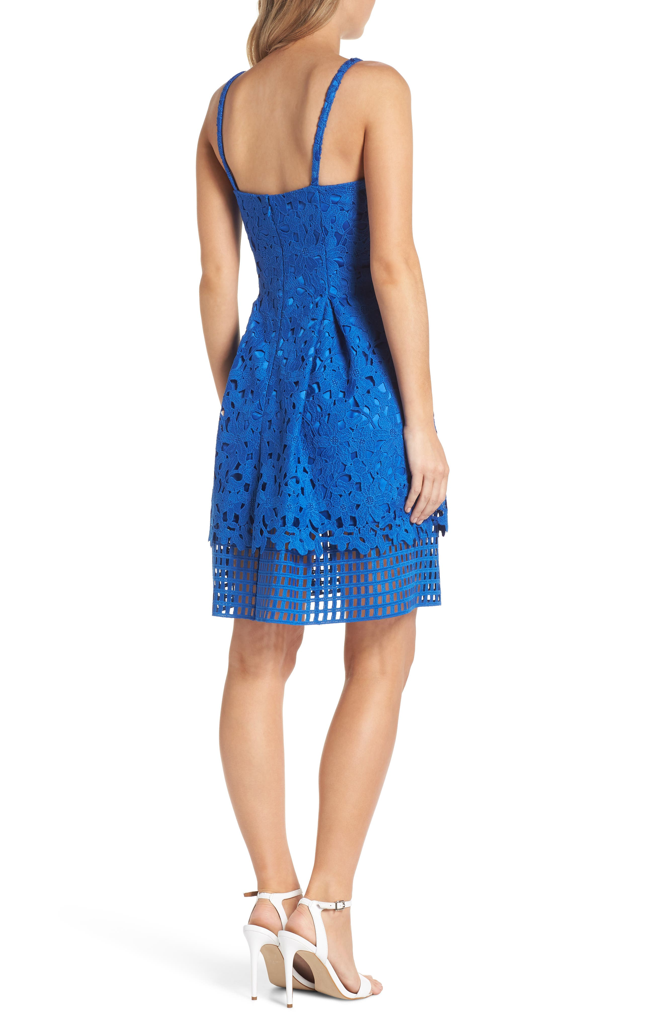 Lace Fit & Flare Dress,                             Alternate thumbnail 2, color,                             491