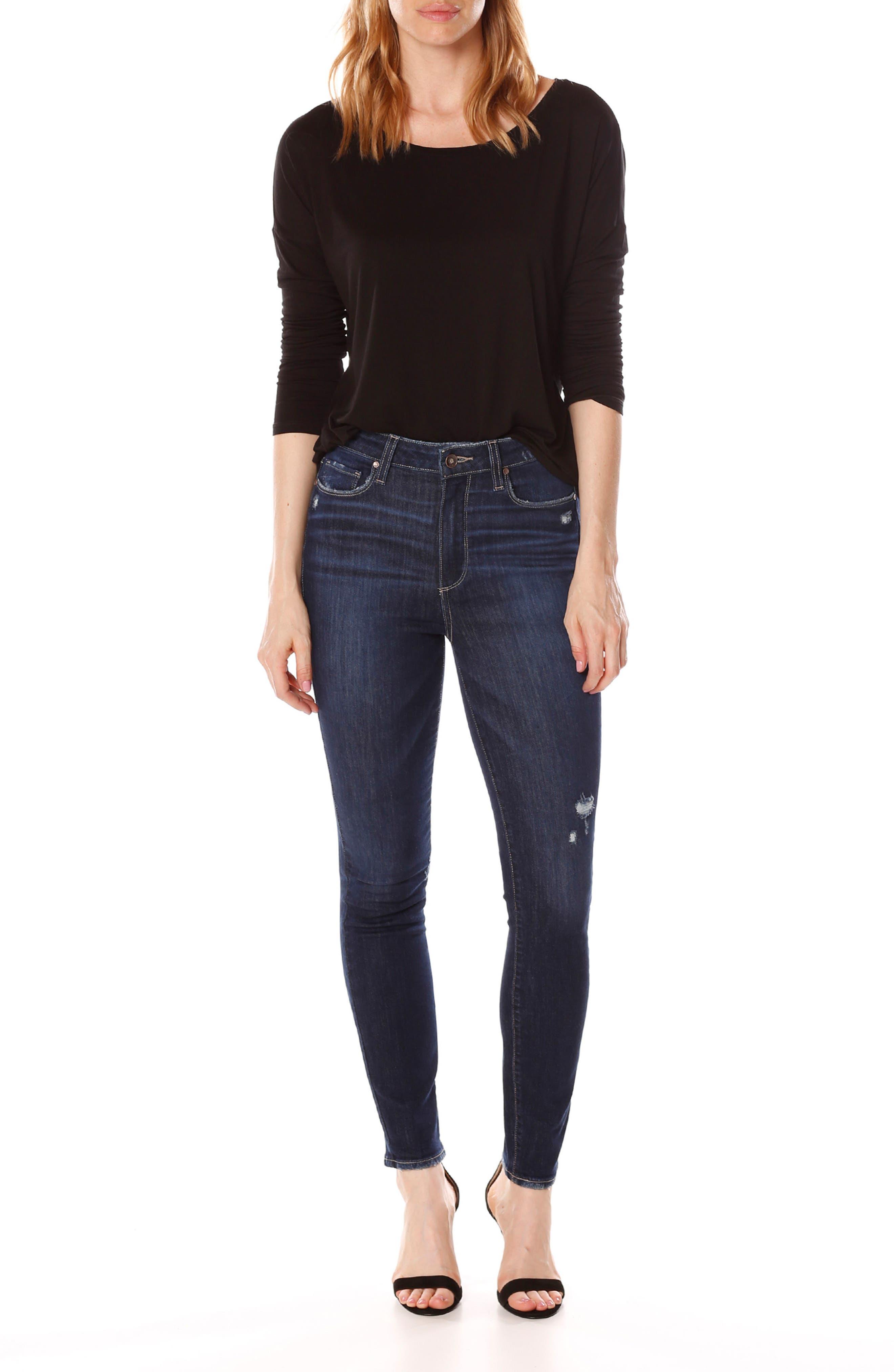 Margot High Waist Ankle Skinny Jeans,                             Alternate thumbnail 7, color,                             400
