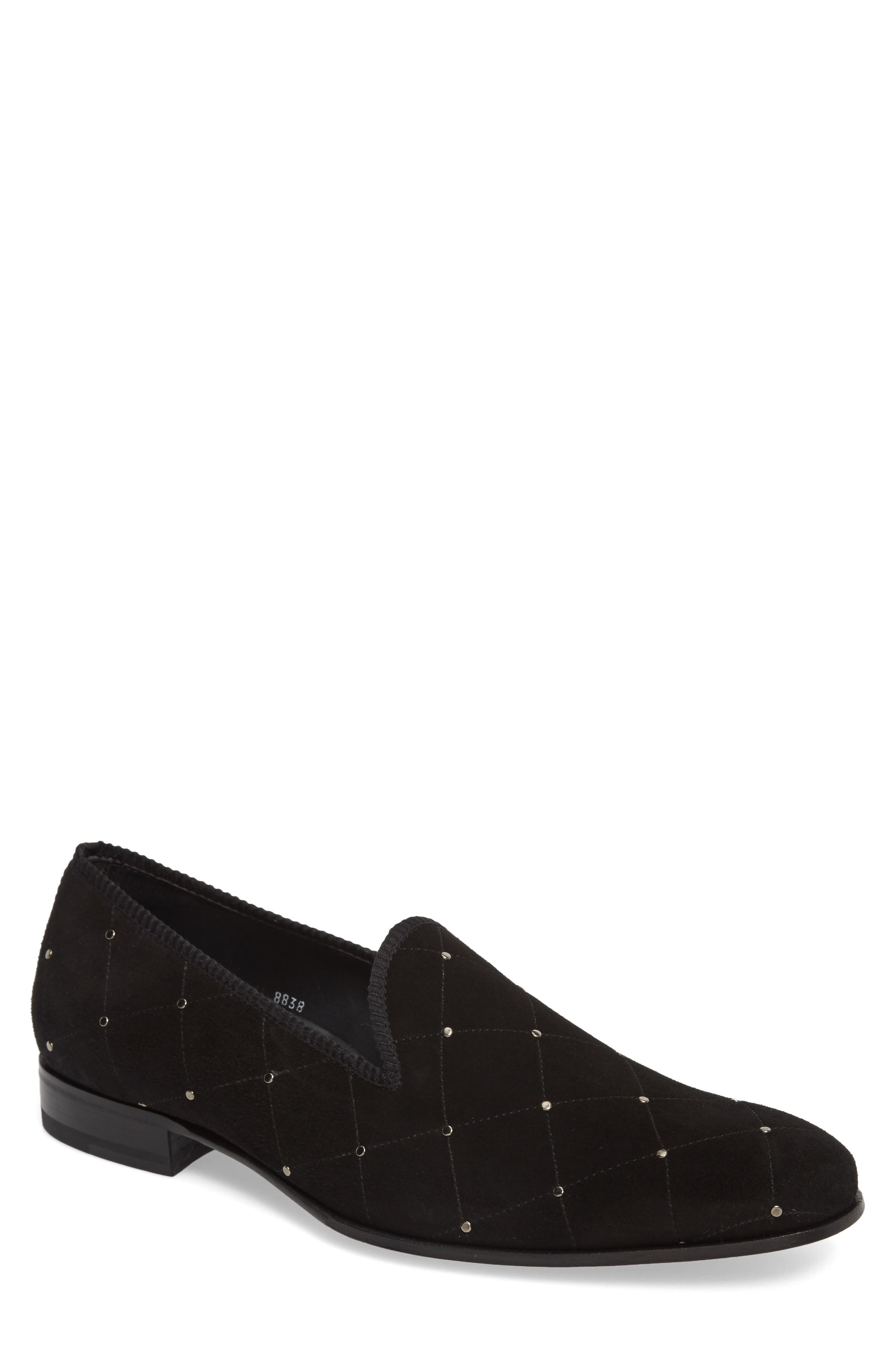 Talo Studded Venetian Loafer,                             Main thumbnail 1, color,                             BLACK SUEDE