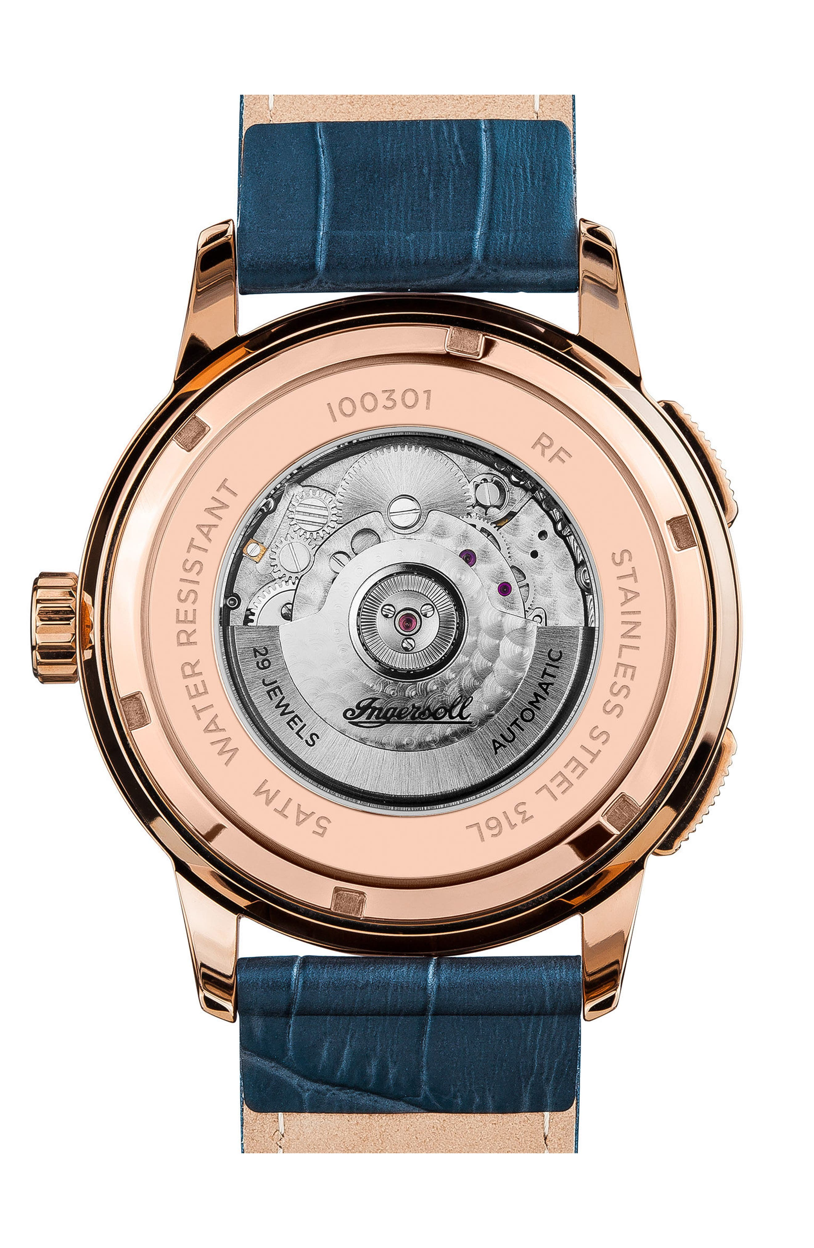 INGERSOLL WATCHES,                             Ingersoll Regent Automatic Open Heart Leather Strap Watch, 47mm,                             Alternate thumbnail 2, color,                             BLUE/ ROSE GOLD