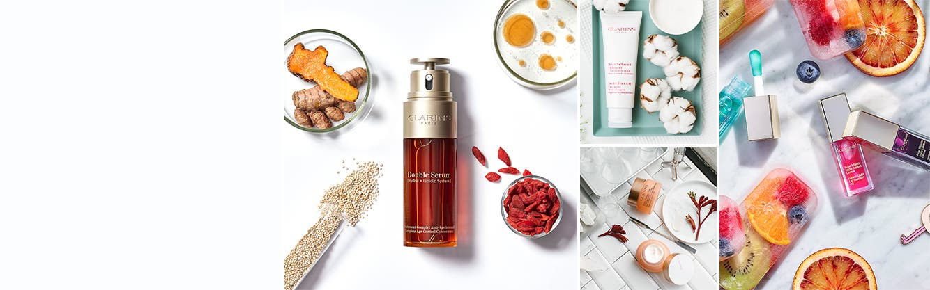 Clarins serums, moisturizers, cleansers, makeup and more.