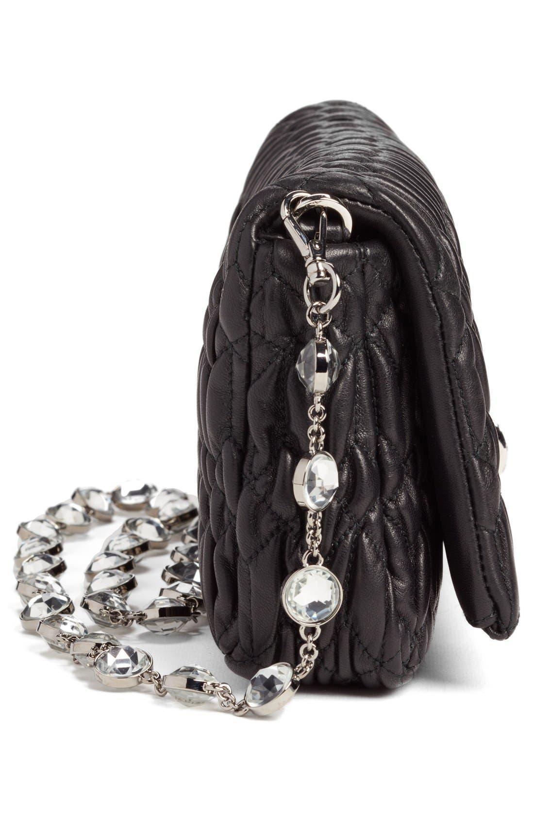 Small Crystal Embellished Nappa Shoulder Bag,                             Alternate thumbnail 5, color,                             NERO