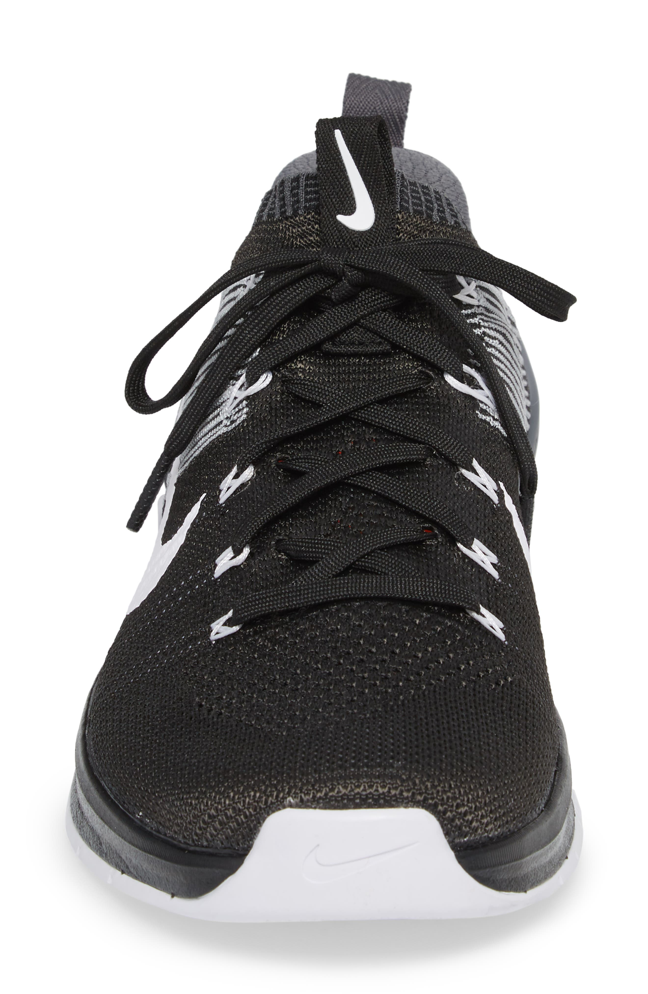 Metcon DSX Flyknit 2 Training Shoe,                             Alternate thumbnail 4, color,                             BLACK/ WHITE/ WOLF GREY