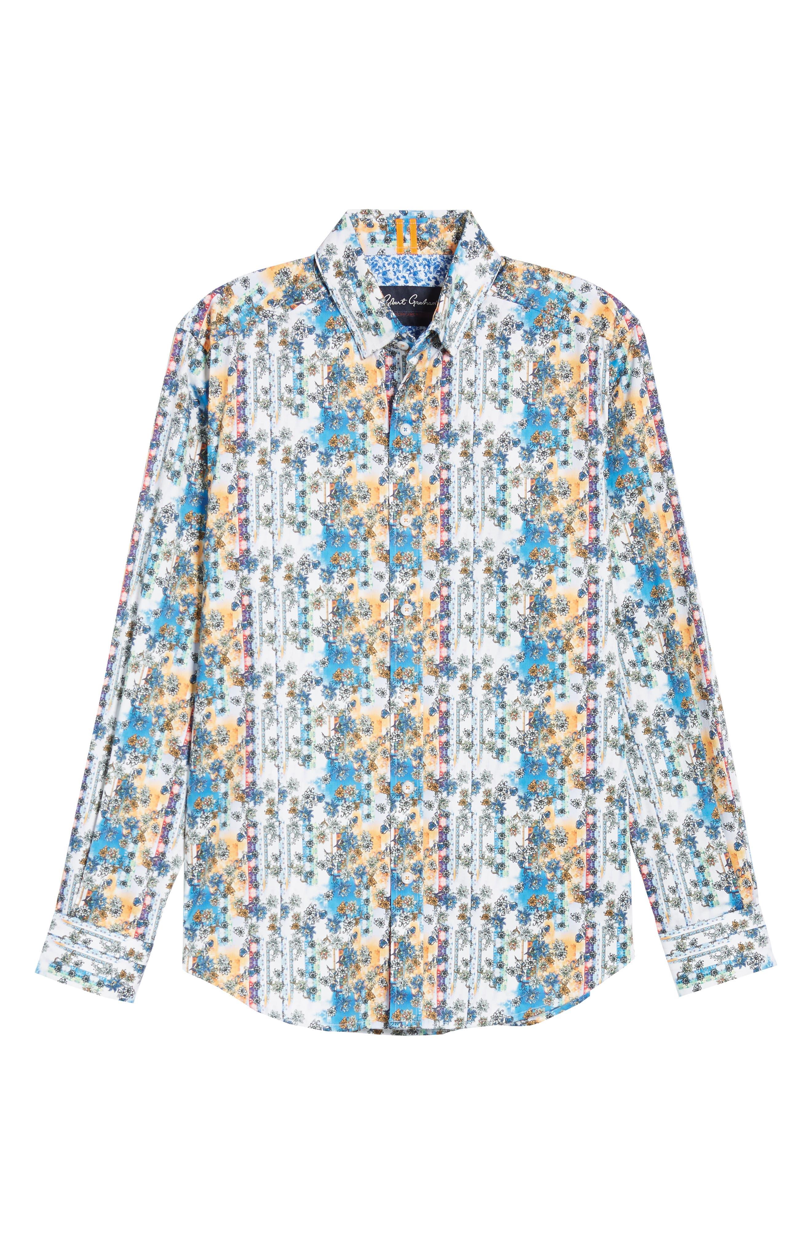 Gaspar Tailored Fit Print Sport Shirt,                             Alternate thumbnail 5, color,                             MULTI ORANGE