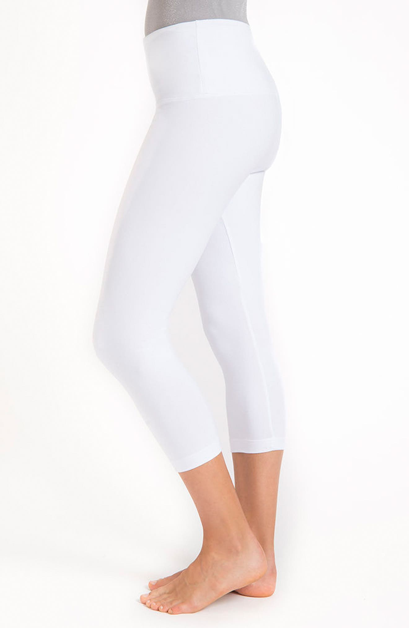 Control Top High Waist Capris,                             Alternate thumbnail 8, color,                             WHITE