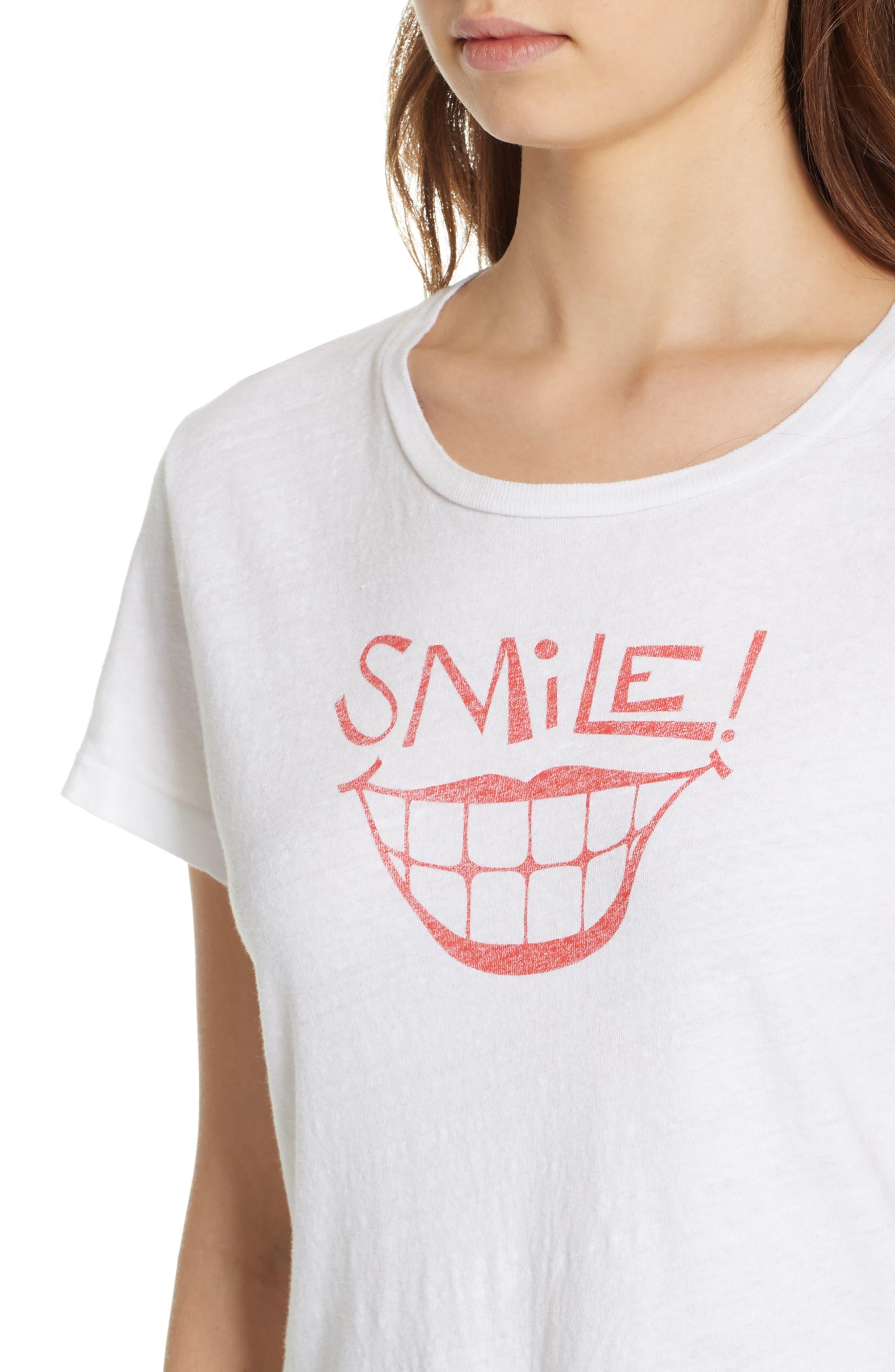 Smile Graphic Tee,                             Alternate thumbnail 4, color,                             OPTIC WHITE