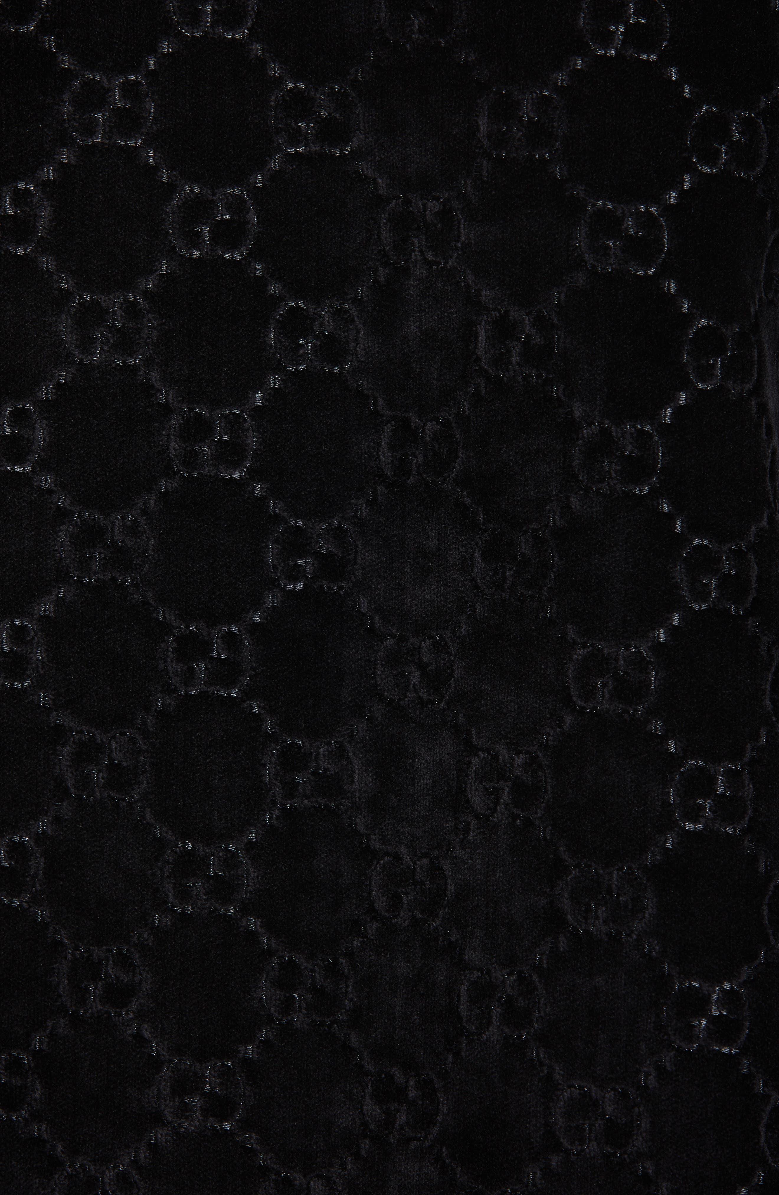 GUCCI,                             Intrigues GG Velvet Cape,                             Alternate thumbnail 5, color,                             BLACK