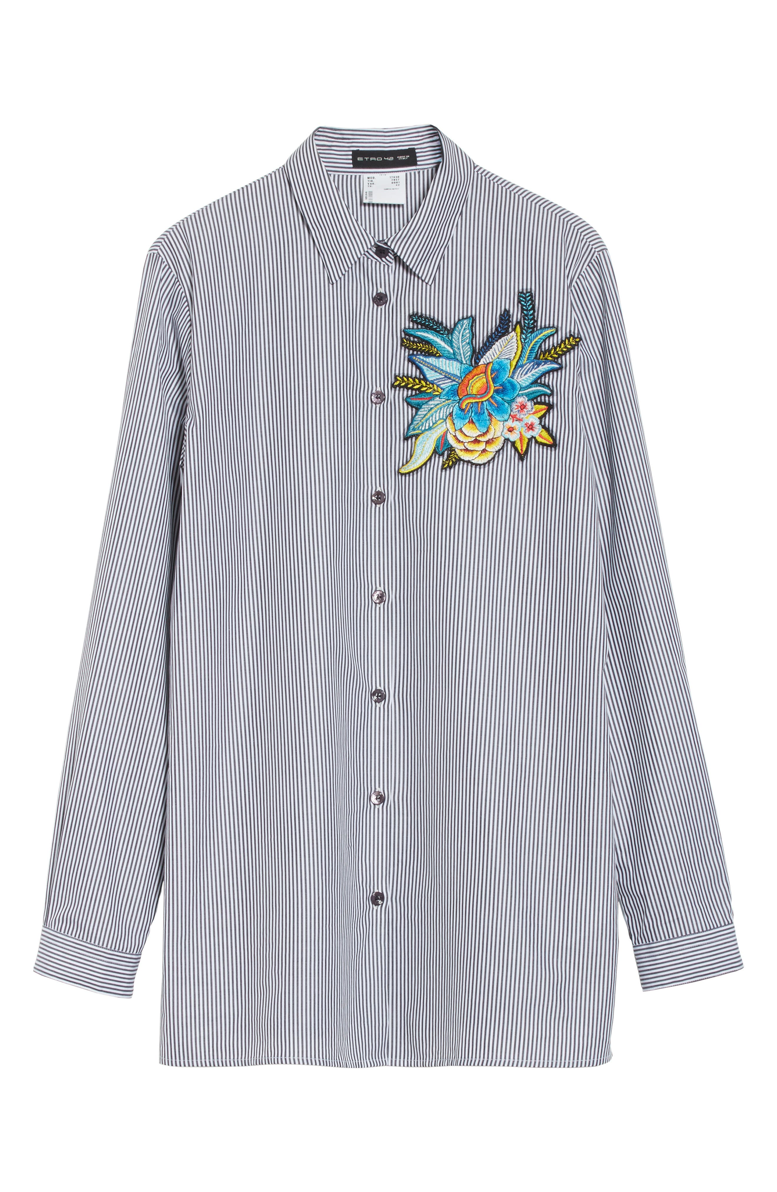 Embroidered Patch Stripe Shirt,                             Alternate thumbnail 6, color,