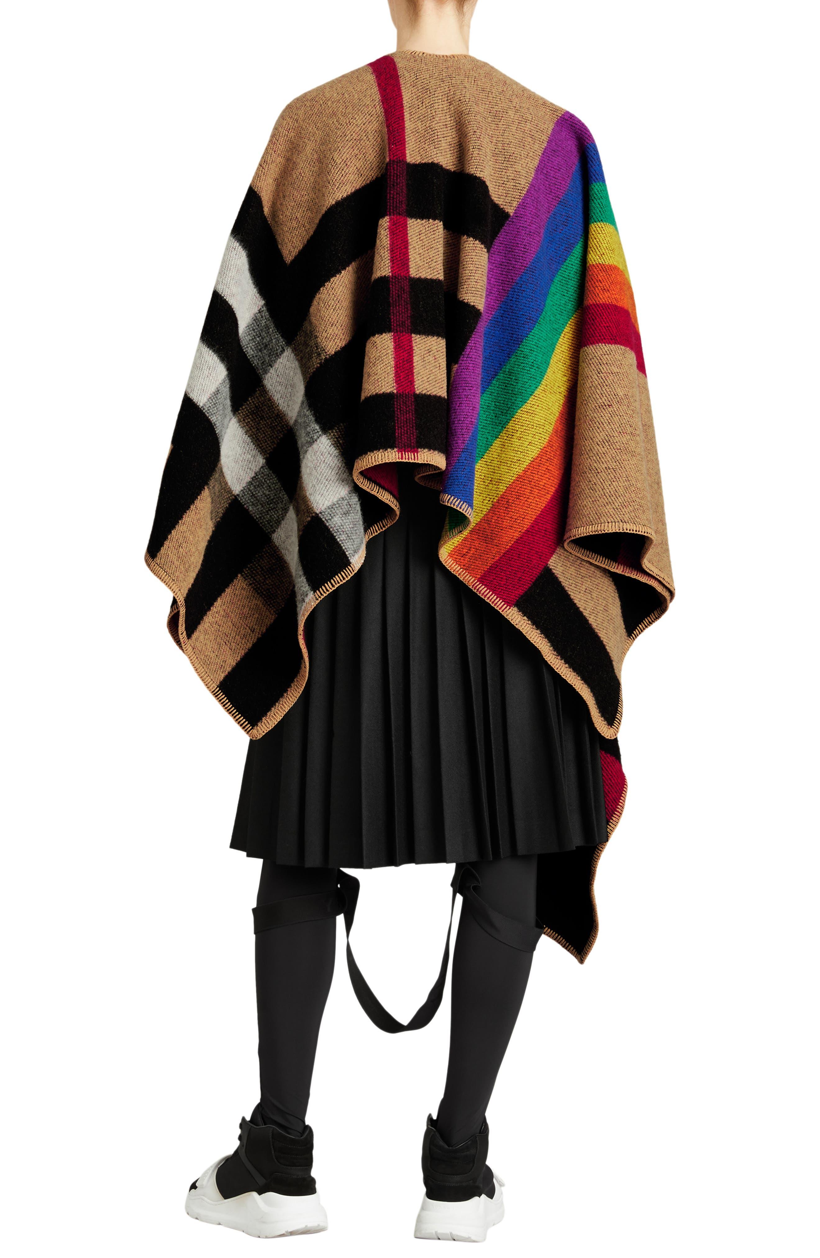 Rainbow Stripe Vintage Check Wool & Cashmere Cape,                             Alternate thumbnail 2, color,                             200