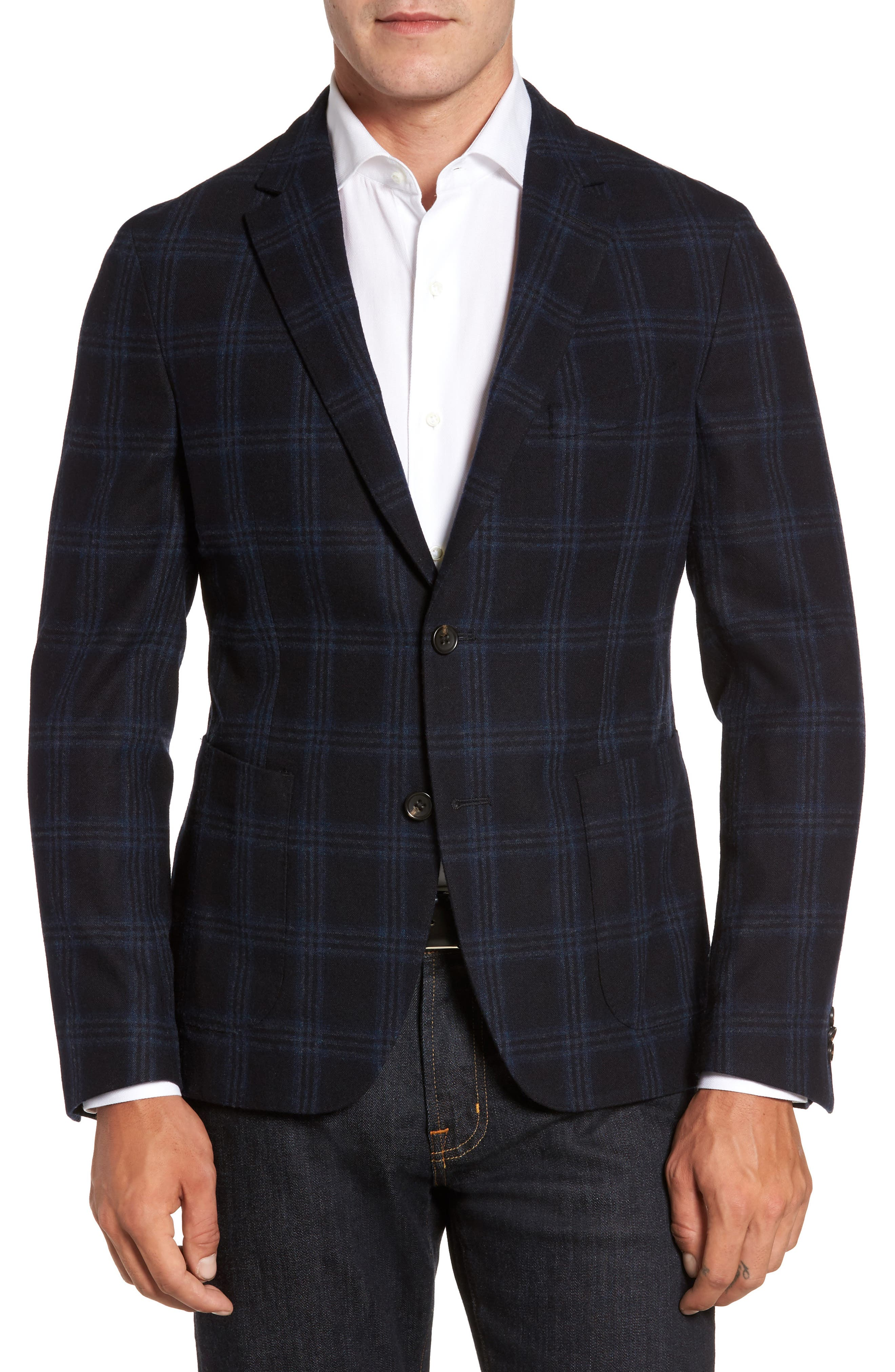 Classic Fit Windowpane Wool & Cashmere Jersey Sport Coat,                         Main,                         color, 001