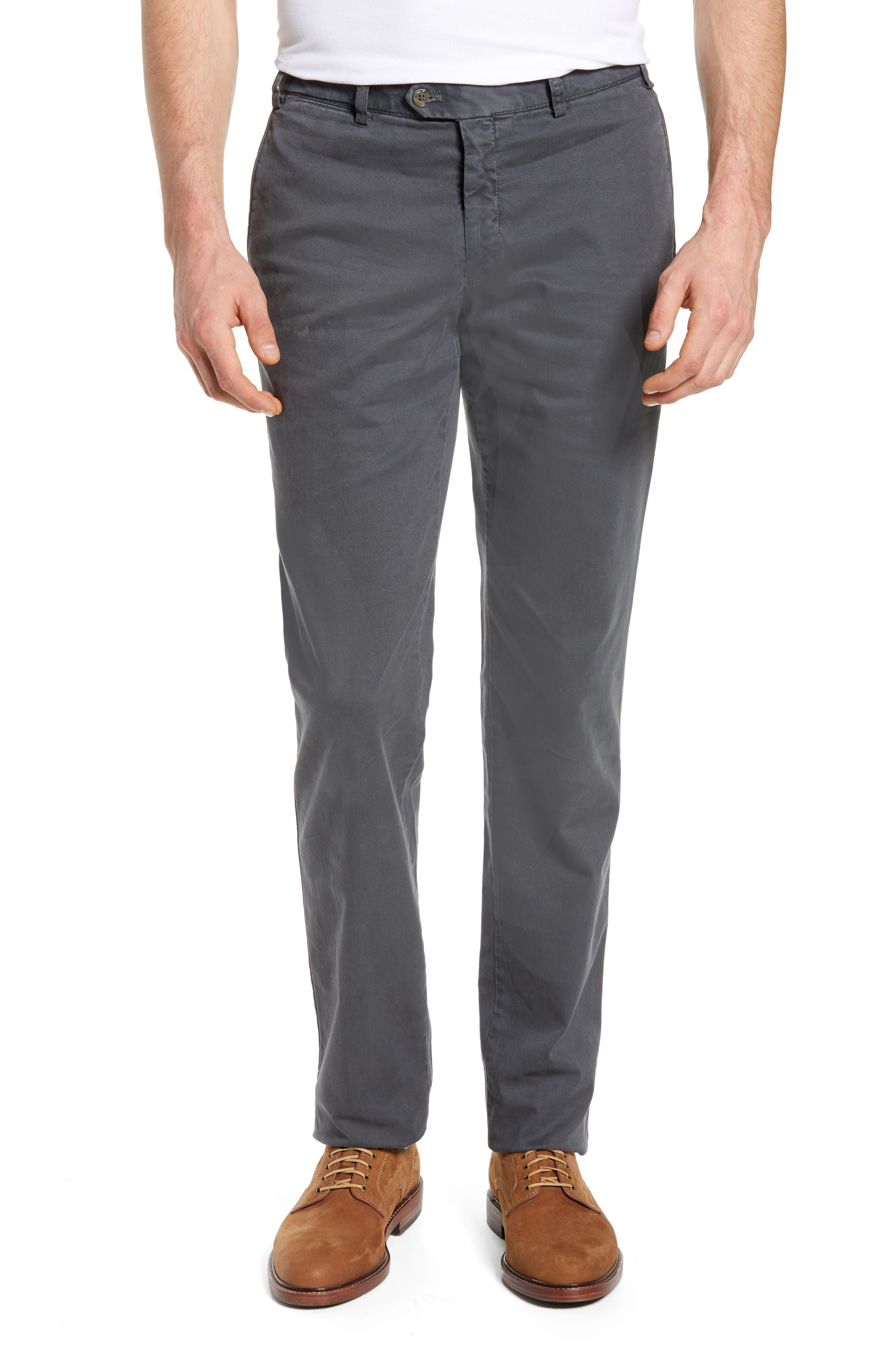 Pero Trim Fit Flat Front Chino Trousers,                         Main,                         color, GREY
