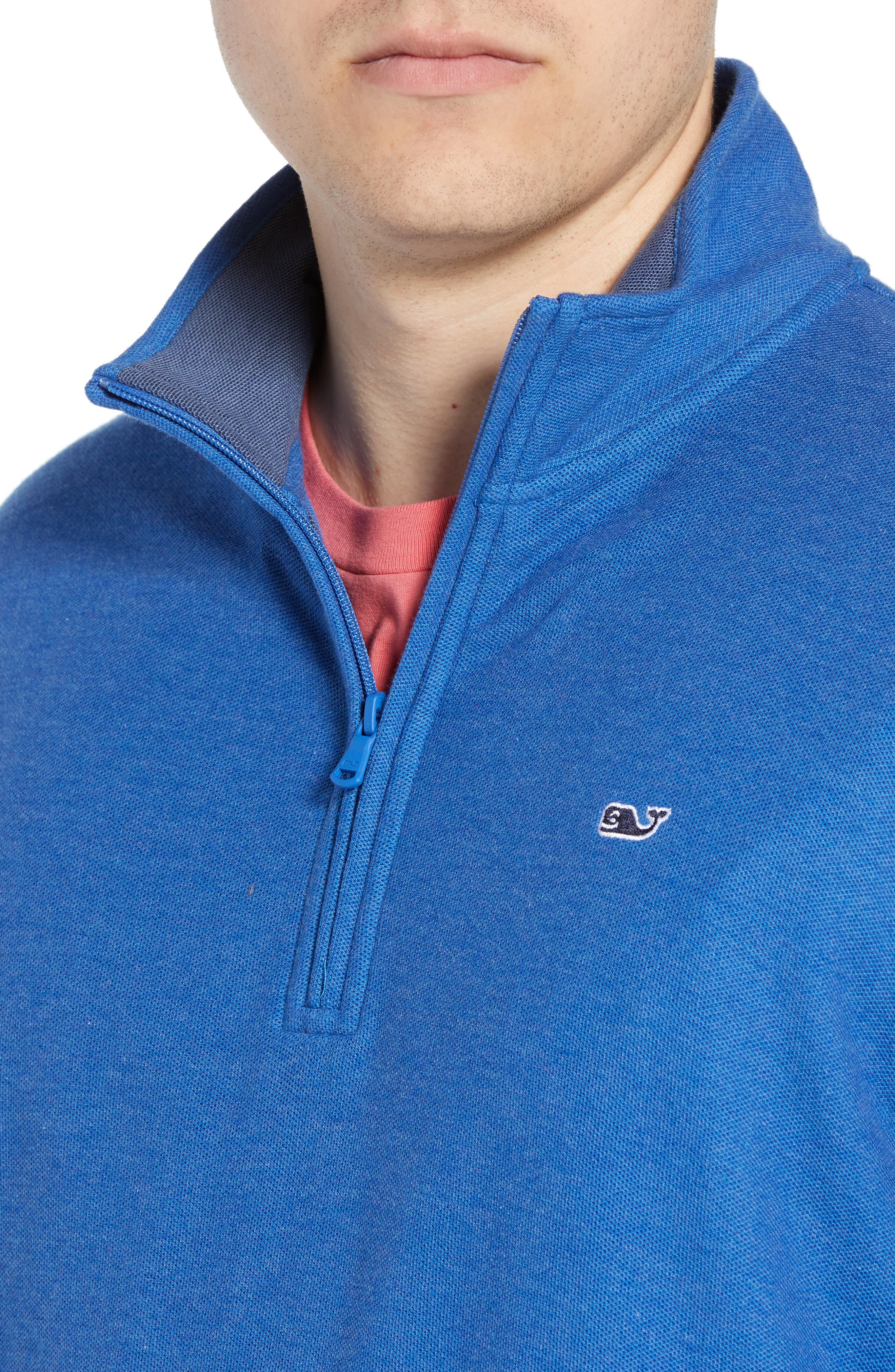 Breaker Saltwater Quarter Zip Pullover,                             Alternate thumbnail 4, color,                             HULL BLUE
