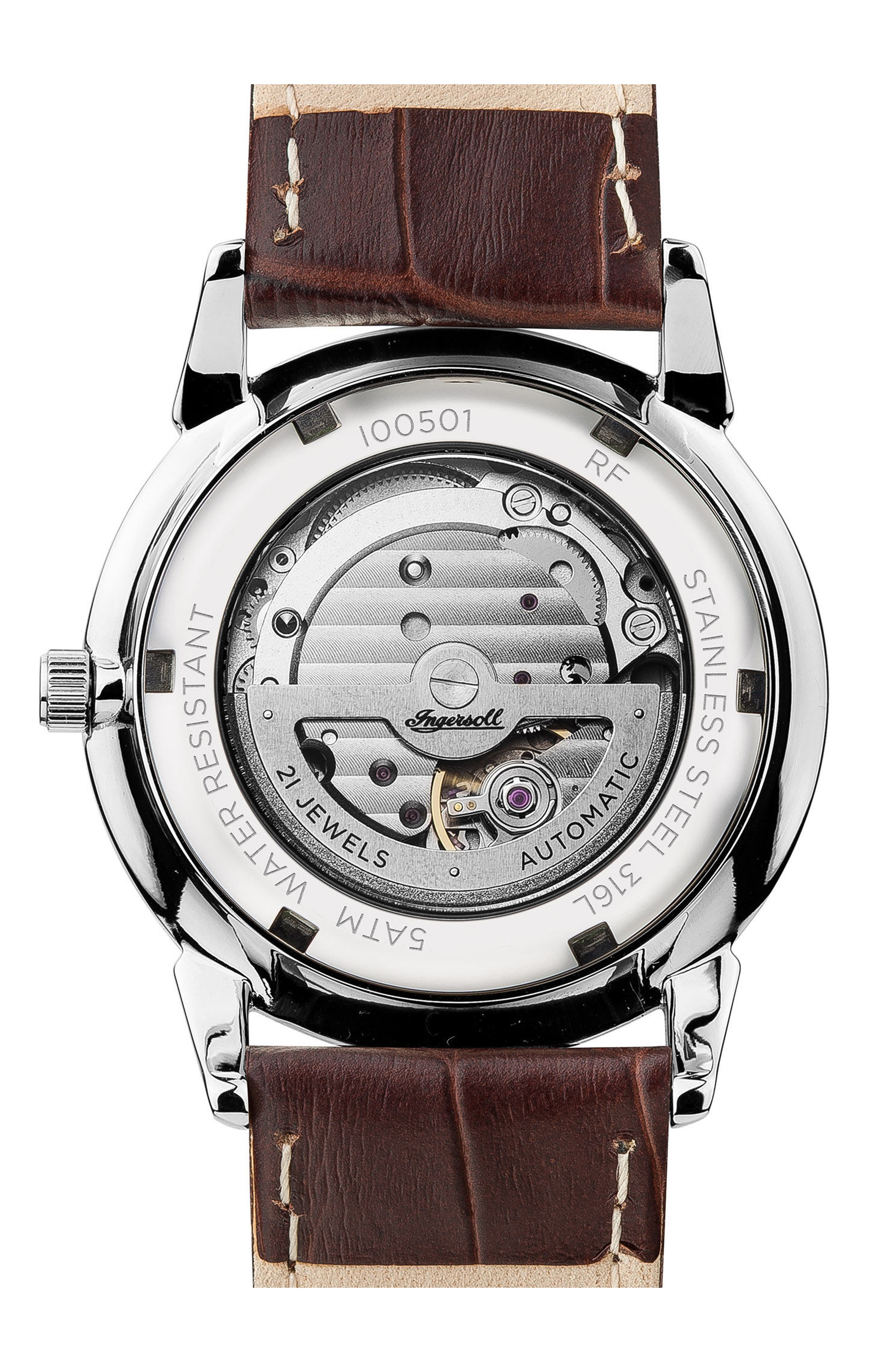 Ingersoll New Haven Automatic Leather Strap Watch, 40mm,                             Alternate thumbnail 7, color,