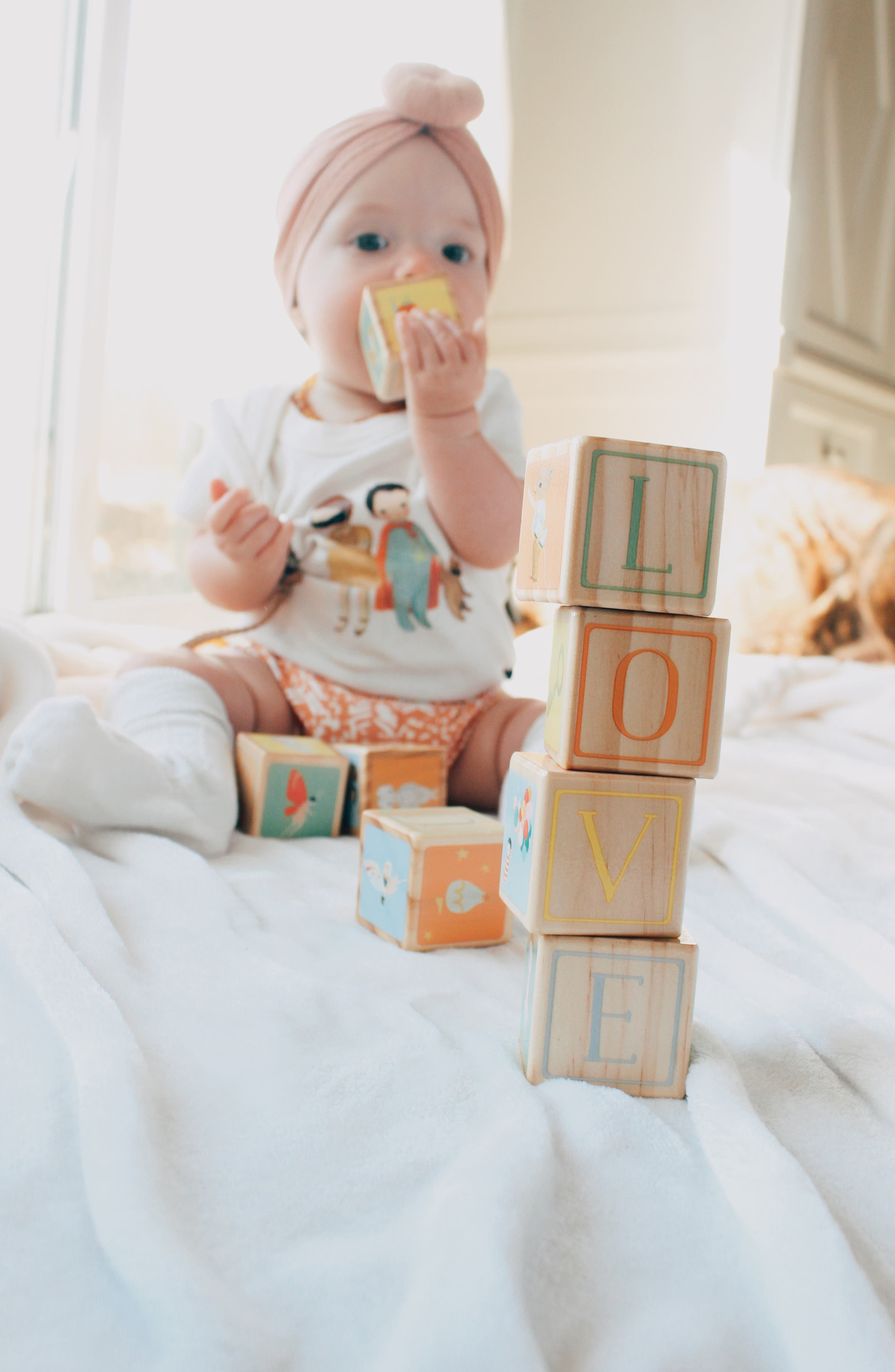 Dream World by Emily Winfield Martin Organic Cotton Footie & Wood Blocks Set,                             Alternate thumbnail 4, color,                             600