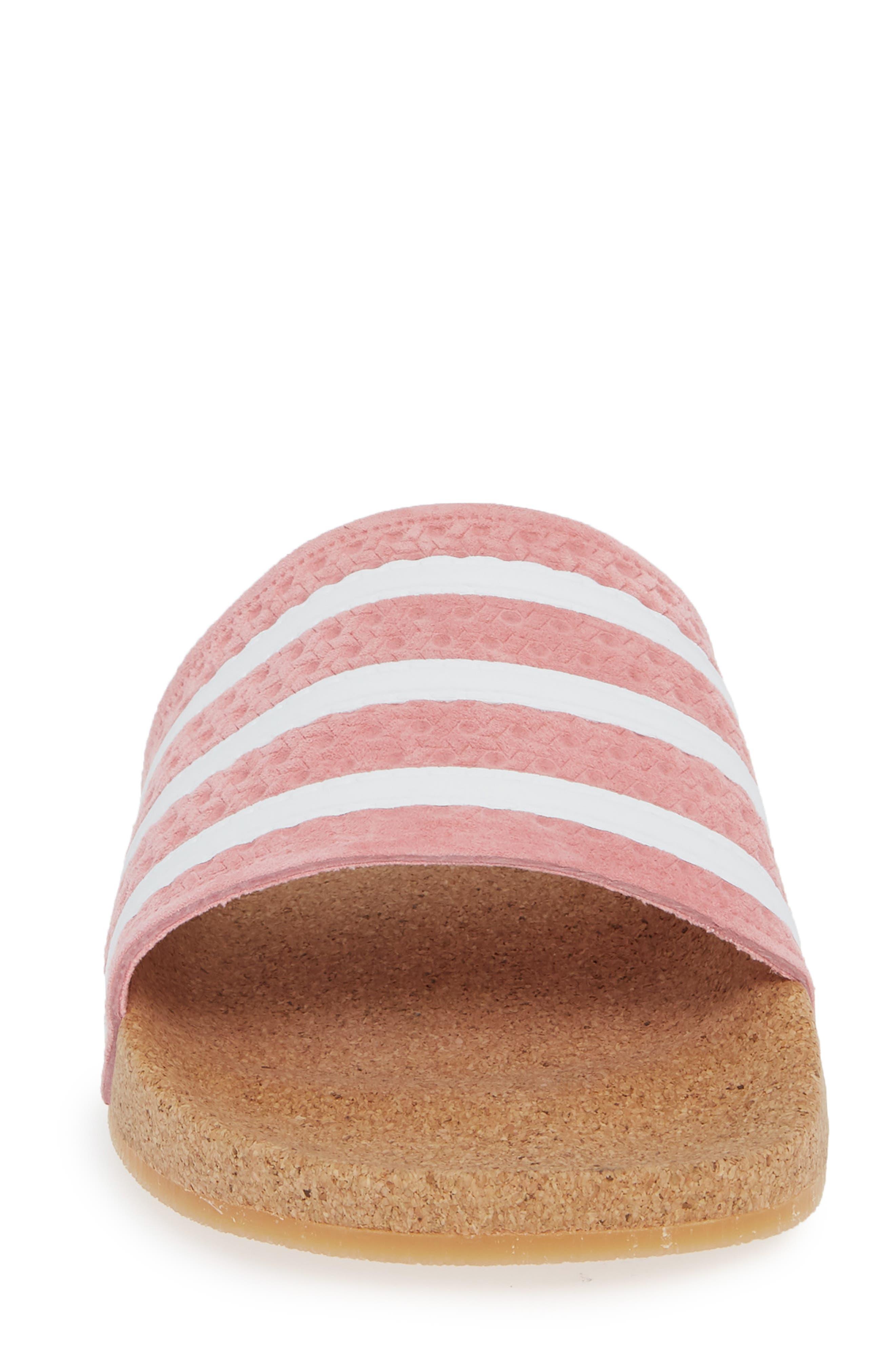 Adilette Slide Sandal,                             Alternate thumbnail 4, color,                             SUPER POP/ WHITE/ GUM4