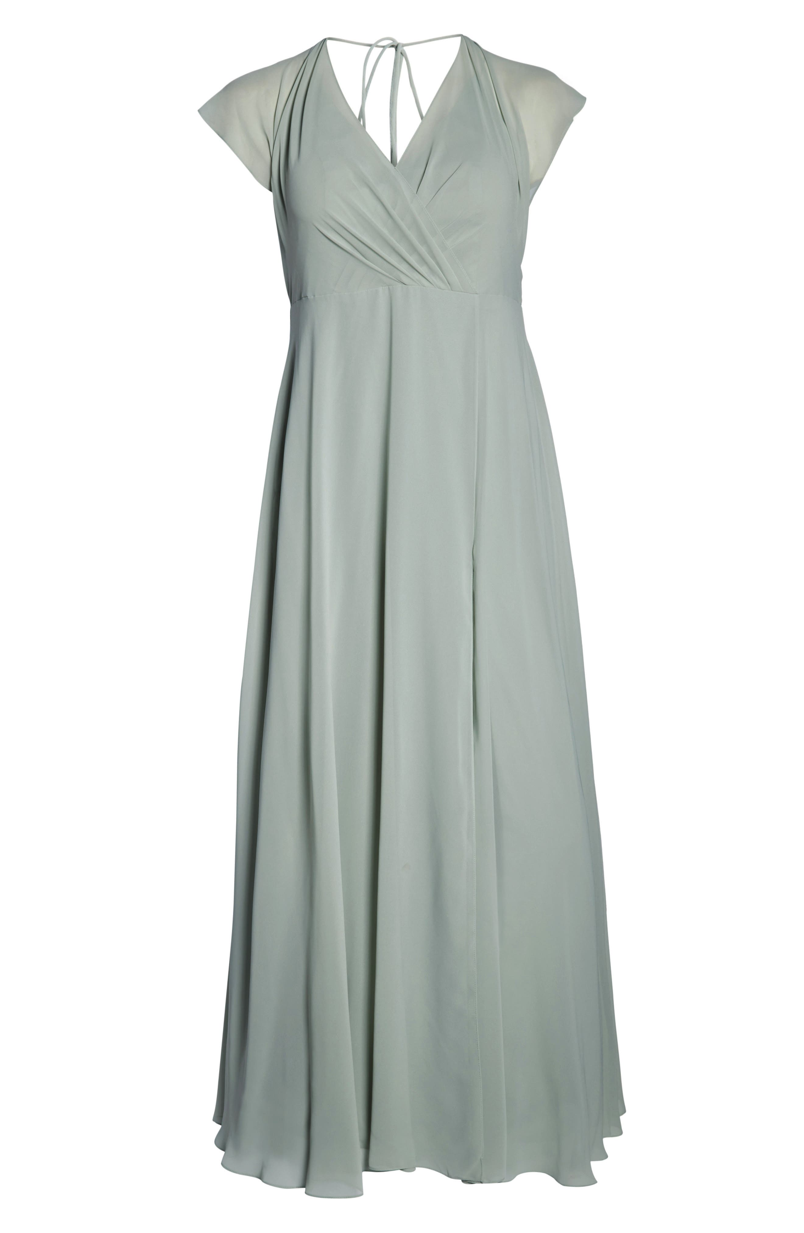 Alanna Open Back Chiffon Gown,                             Alternate thumbnail 9, color,                             MORNING MIST