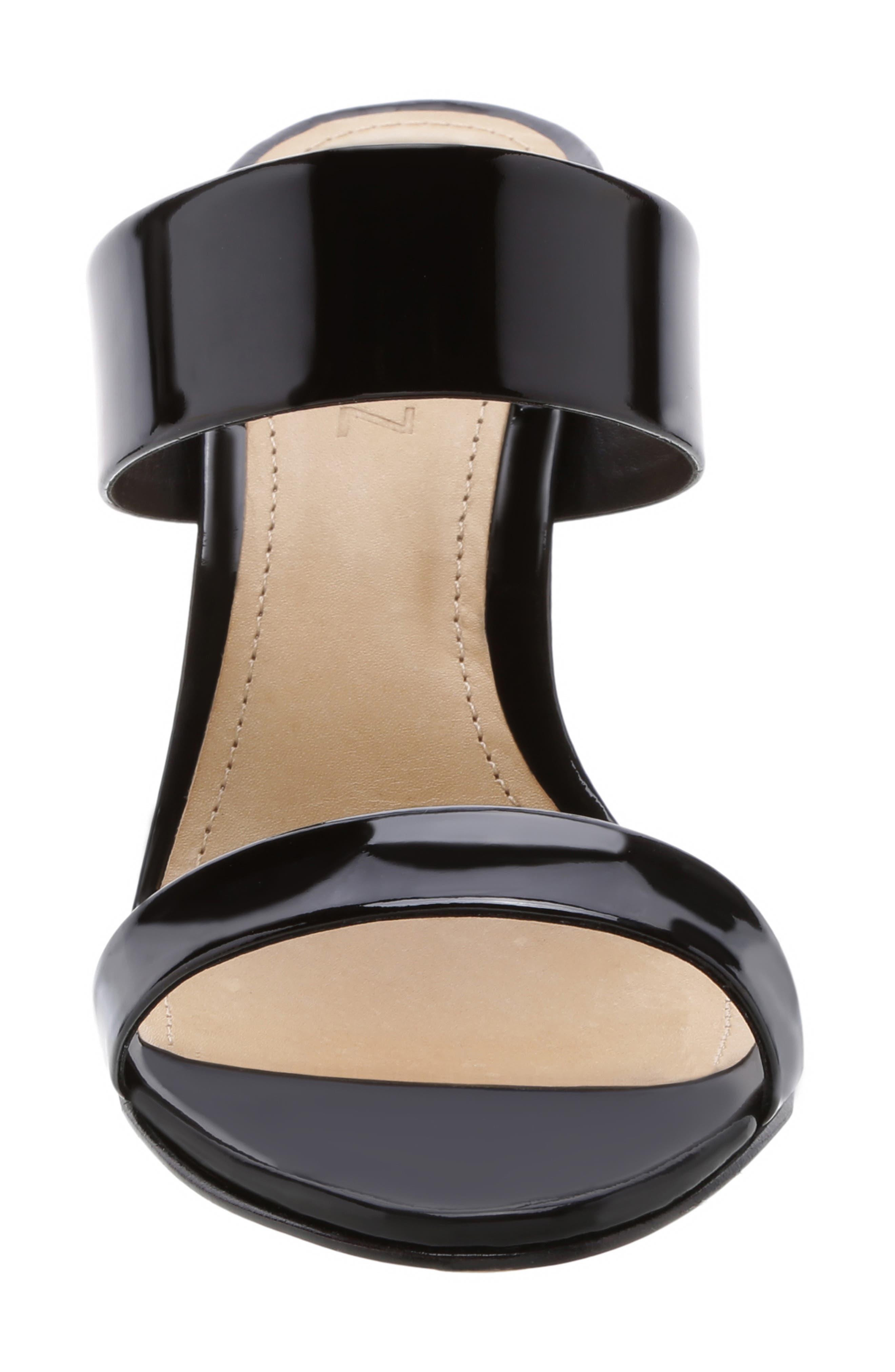 Stiletto Slide Sandal,                             Alternate thumbnail 4, color,                             BLACK PATENT LEATHER