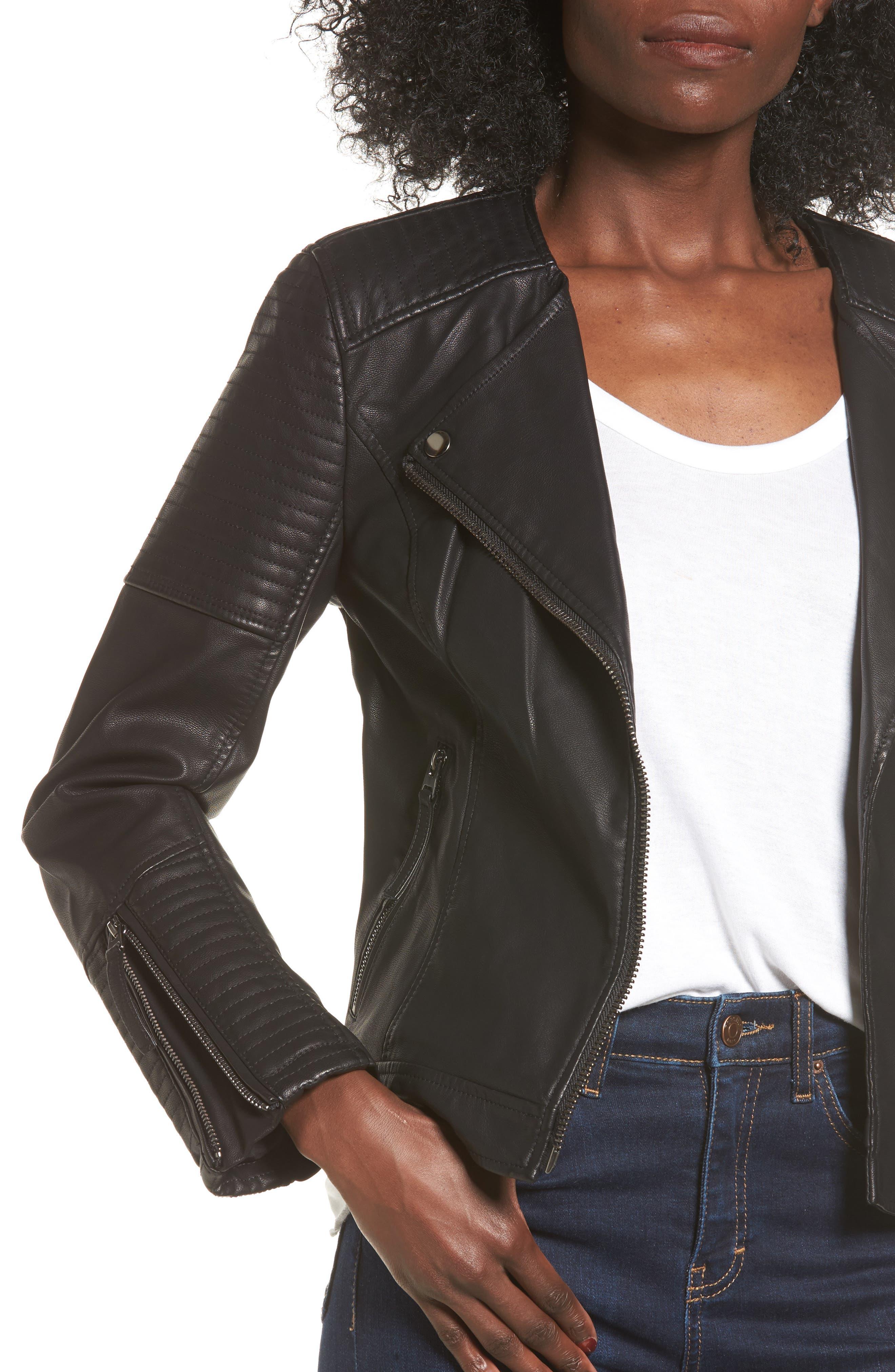Luna Faux Leather Biker Jacket,                             Alternate thumbnail 7, color,