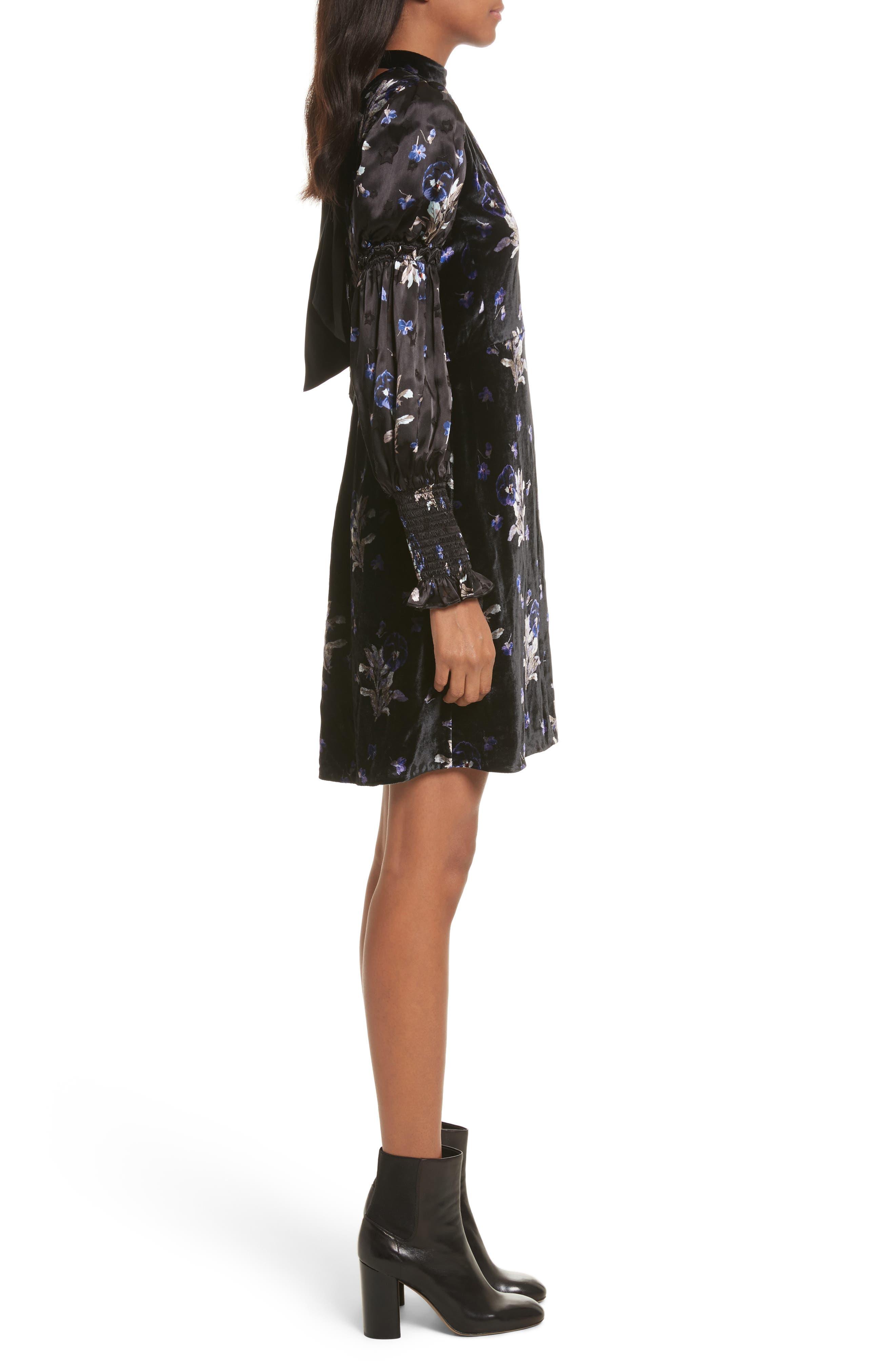 Violet Velvet Sheath Dress,                             Alternate thumbnail 3, color,                             014