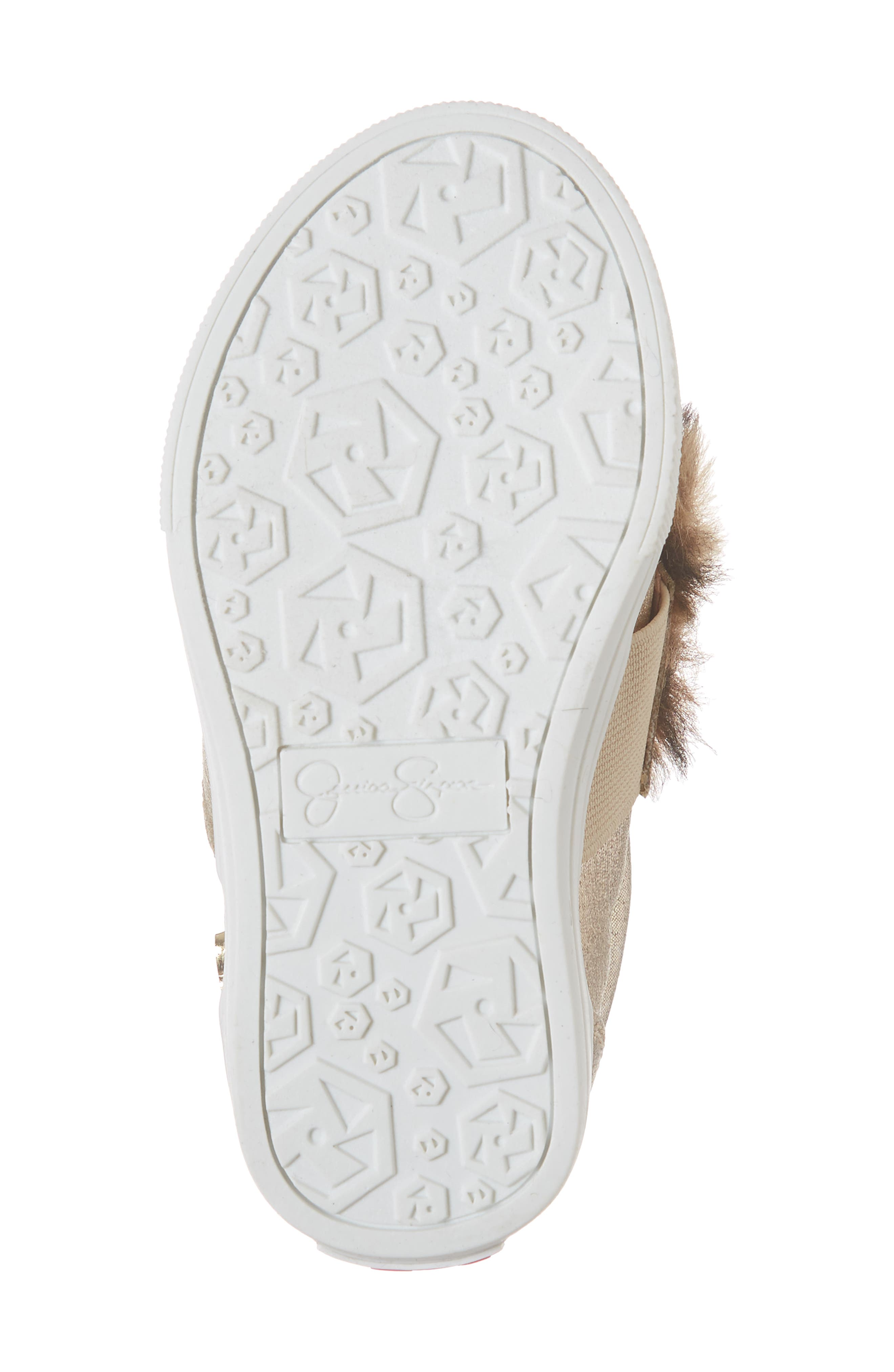 Faux Fur Slip-On Metallic Sneaker,                             Alternate thumbnail 6, color,                             GOLDEN METALLIC