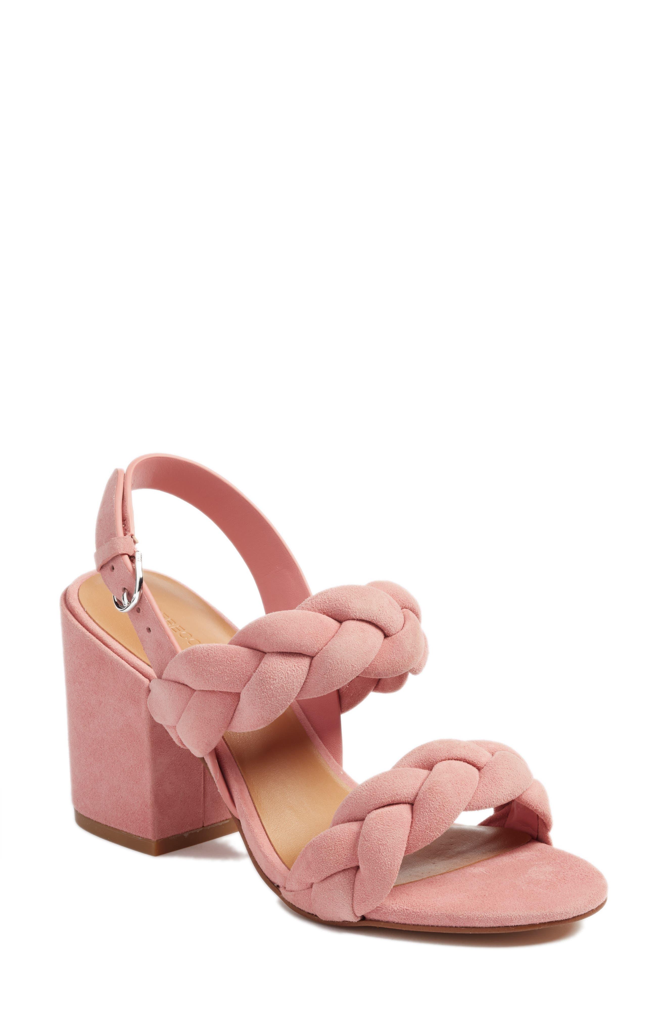Rebecca Minkoff Candance Block Heel Sandal- Pink