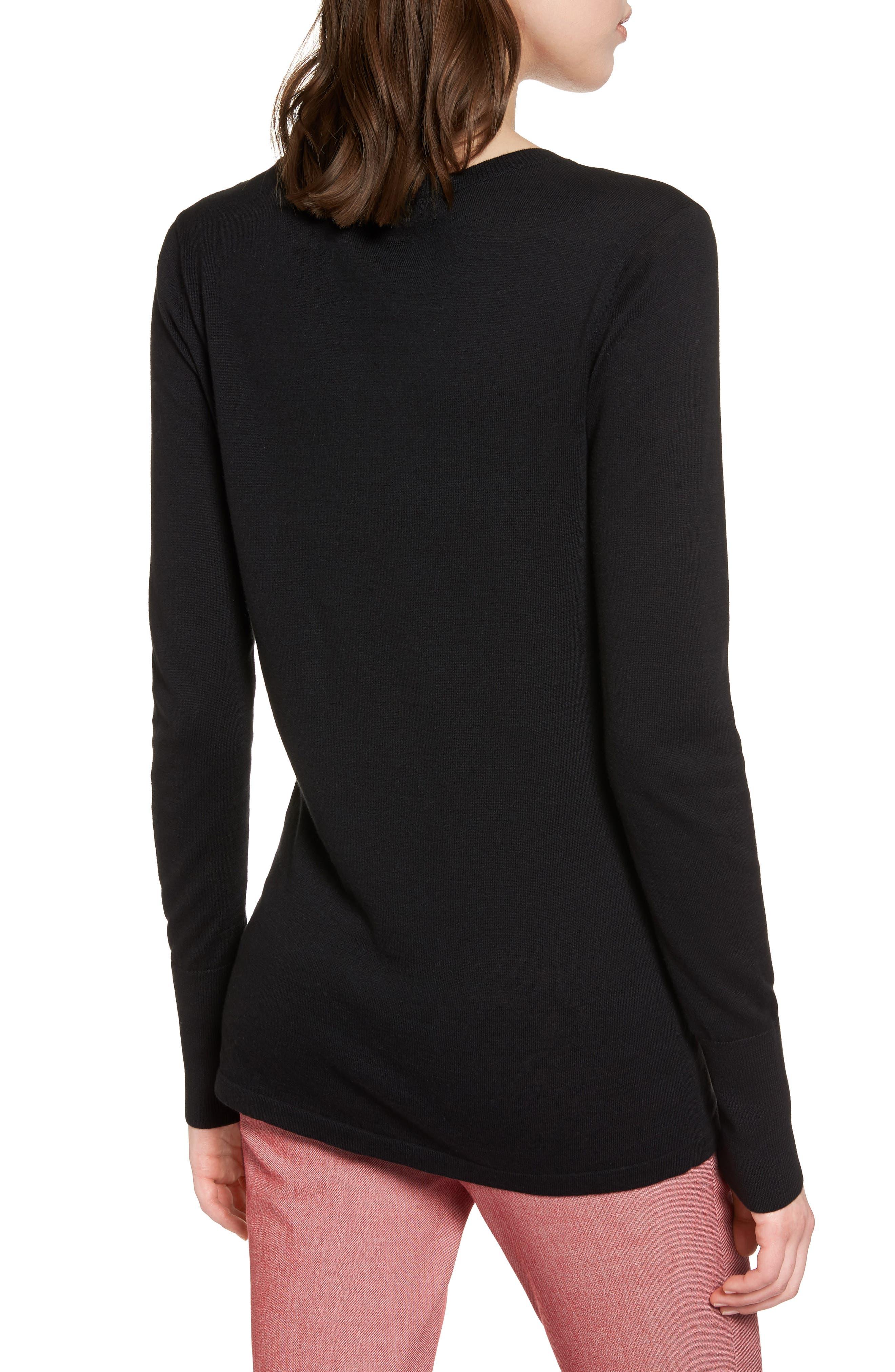 Cotton Blend V-Neck Sweater,                             Alternate thumbnail 2, color,                             001